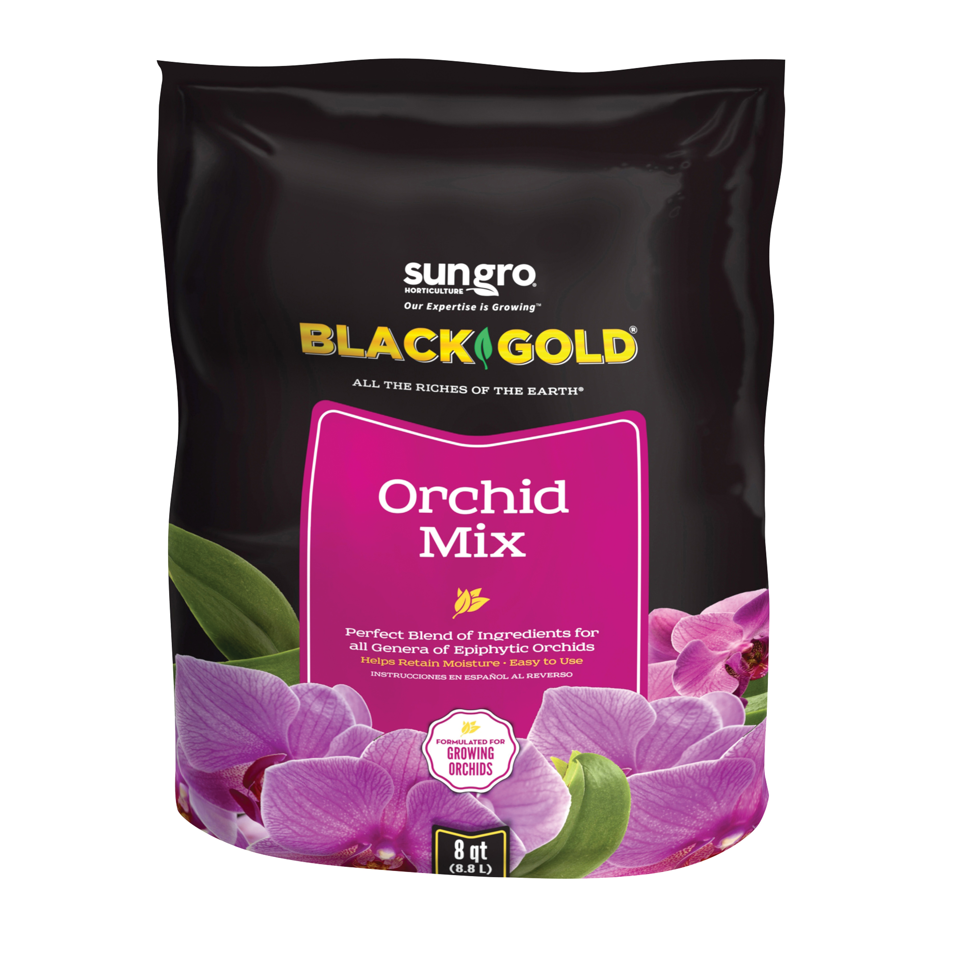 Picture of sun gro BLACK GOLD 1411402 8 QT P Orchid Mix, Granular, Brown/Earthy, 240 Package, Bag