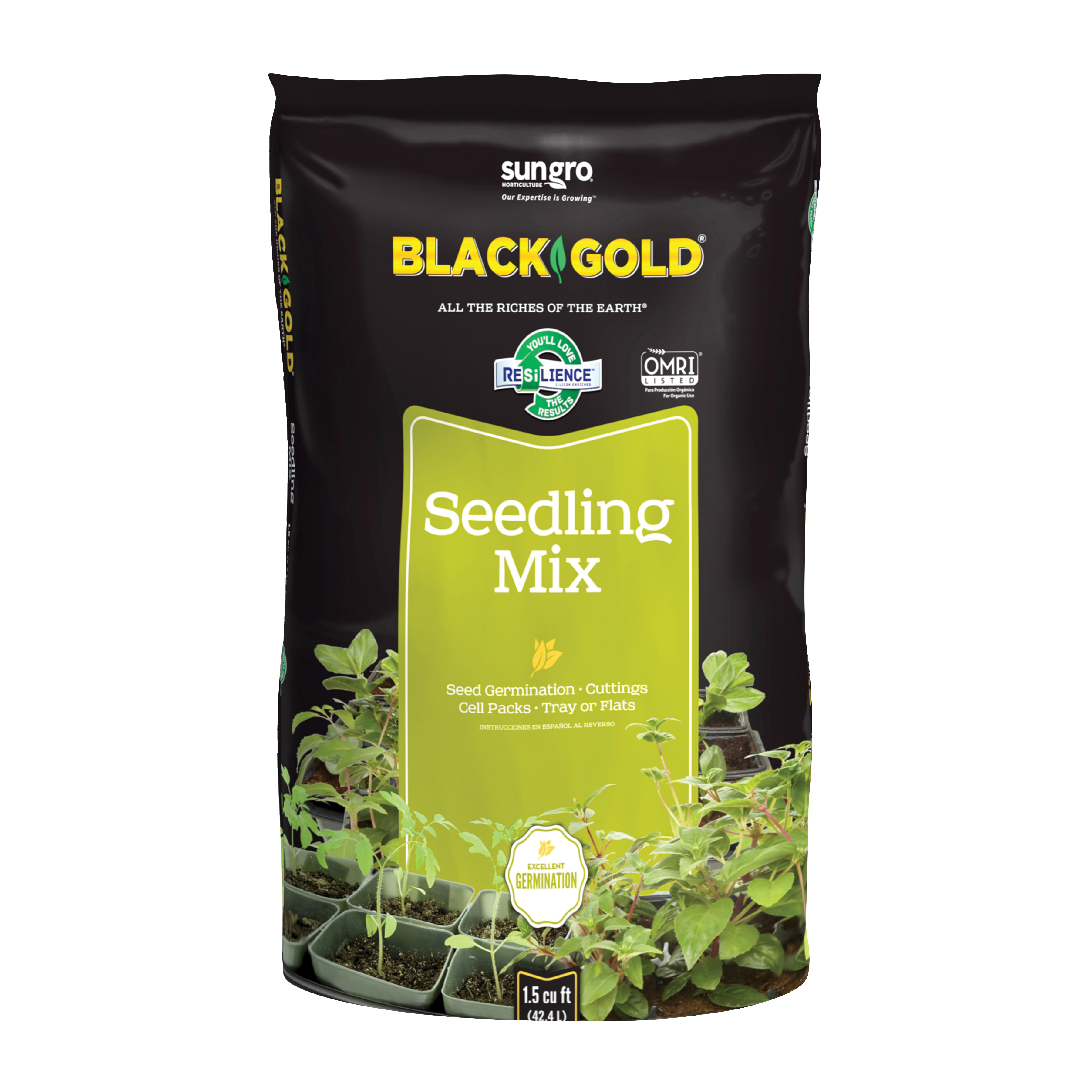 Picture of sun gro BLACK GOLD 1411002.CFL001.5P Seedling Mix, 1-1/2 cu-ft Package, Bag