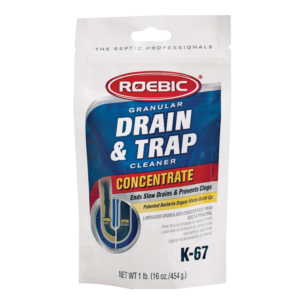Picture of ROEBIC K-67BAG Drain and Trap Cleaner, Granular, White, Odorless, 1 lb Package, Bag