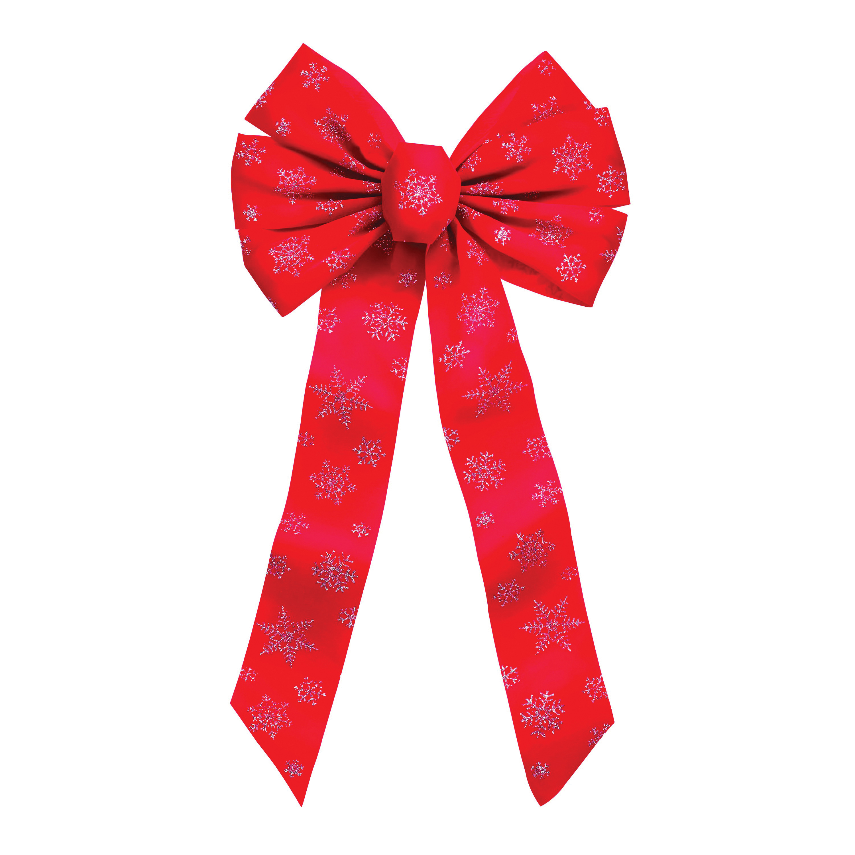 Picture of Holidaytrims 6066 7-Loop Snowflake Glitter Bow, 1 in H, Velvet, Red/Silver
