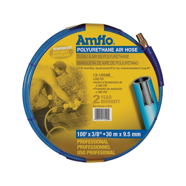 Picture of Amflo 13-100AE Air Hose, 3/8 in OD, 100 ft L, MNPT, 300 psi Pressure, Polyurethane, Blue