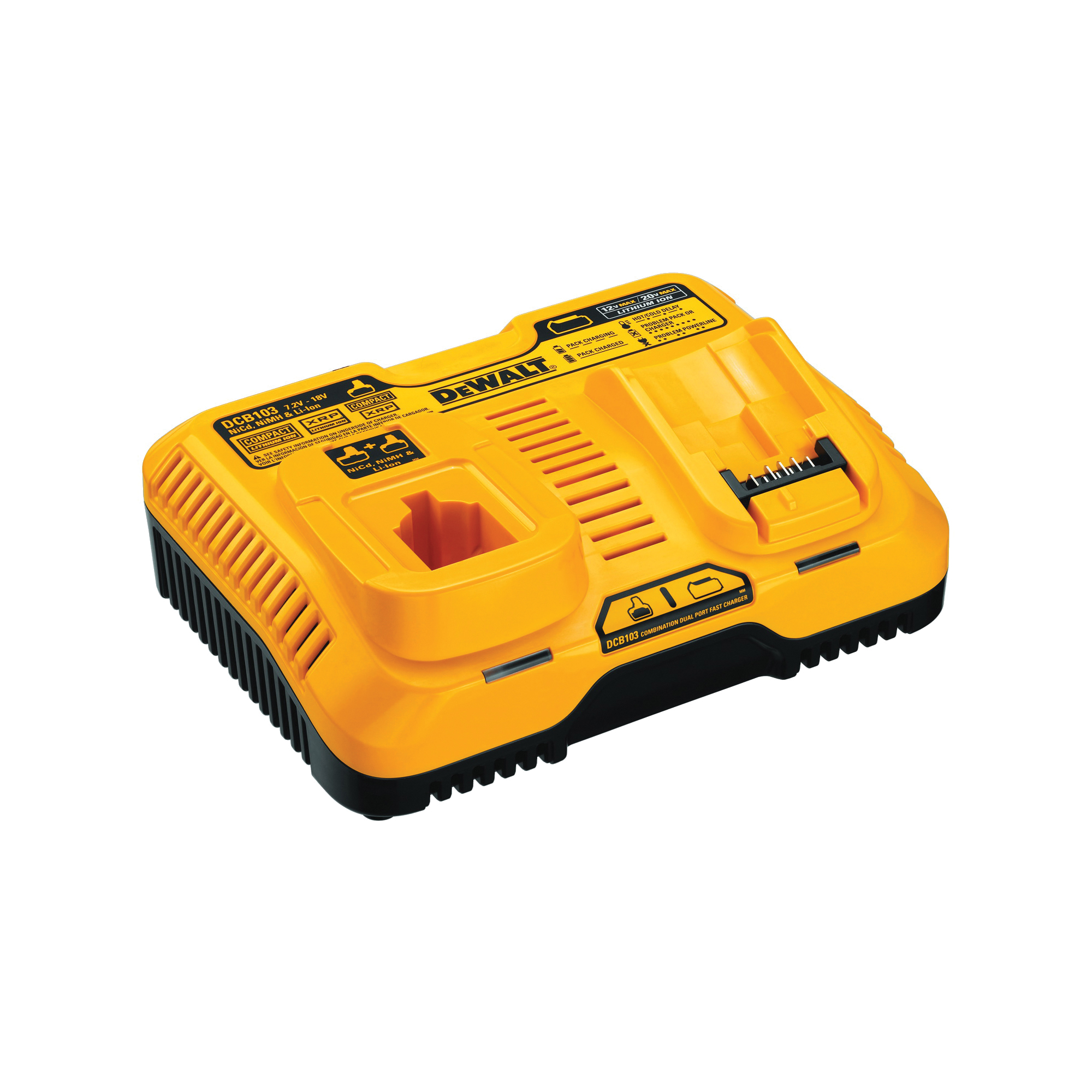 Picture of DeWALT DCB103 Battery Charger, 120 V Output, 90 min Charge, 2 -Battery, Battery Included: No