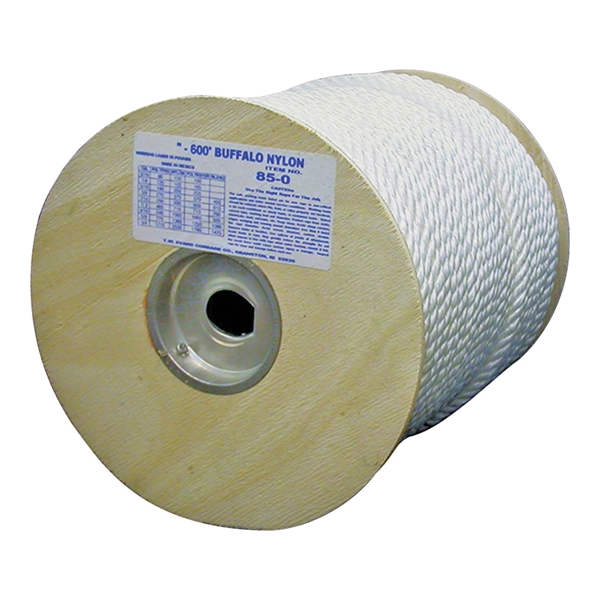 Picture of T.W. Evans Cordage 85-074 Rope, 1/2 in Dia, 300 ft L, 704 lb Working Load, Nylon, White, Spool