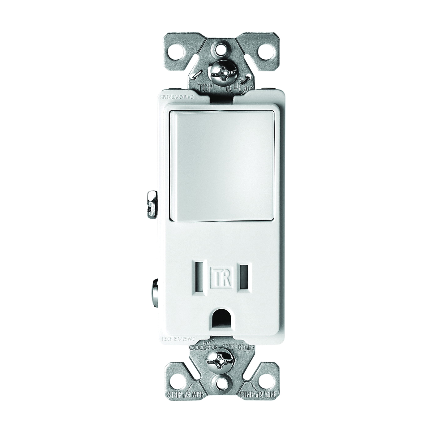 Picture of Eaton Cooper Wiring TR7730W Combination Switch/Receptacle, 1-Pole, 15 A, 120/277 V, White