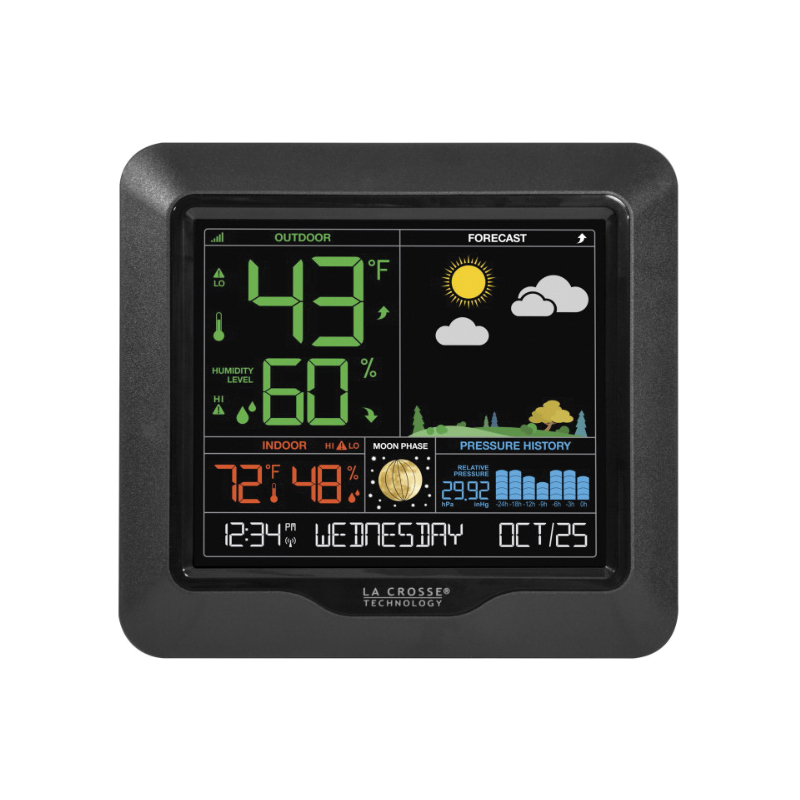 Picture of La Crosse S85814 Wireless Color Forecast Station,-40 to 140 deg F, 19 to 97 % Humidity Range, Digital Display