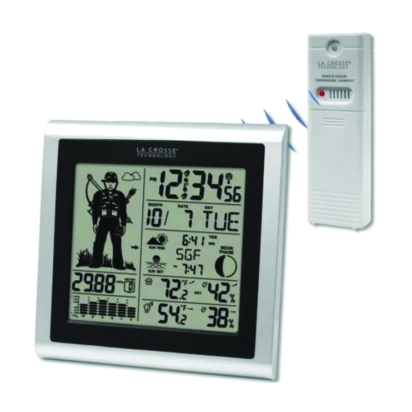 Picture of La Crosse 308-1451H Hunter Forecast Station, 32 to 122 deg F, 1 to 99 % Humidity Range, LED Display