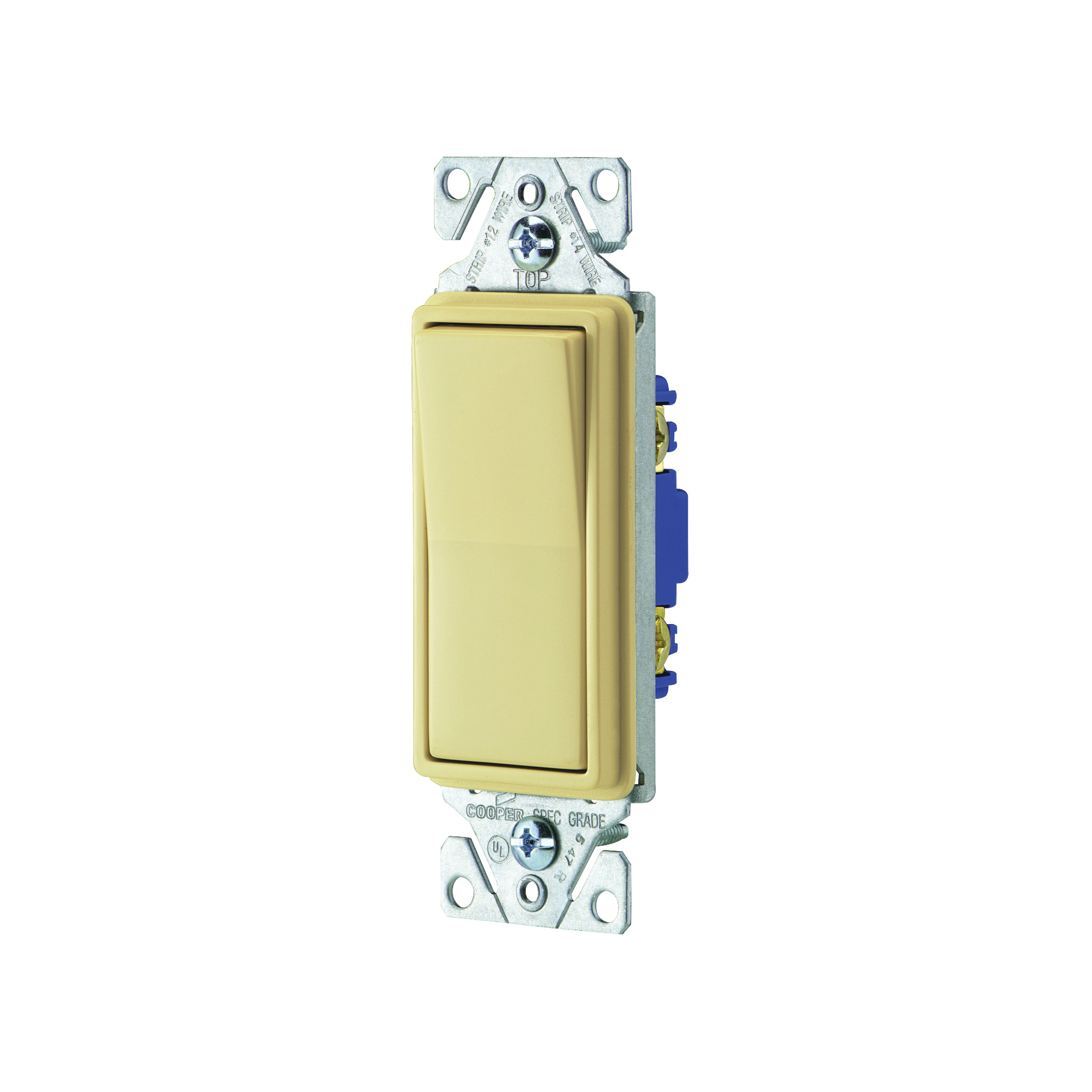 Picture of Eaton Wiring Devices 7500 Series 7501V Rocker Switch, 15 A, 120/277 V, Single-Pole, Lead Wire Terminal, Ivory