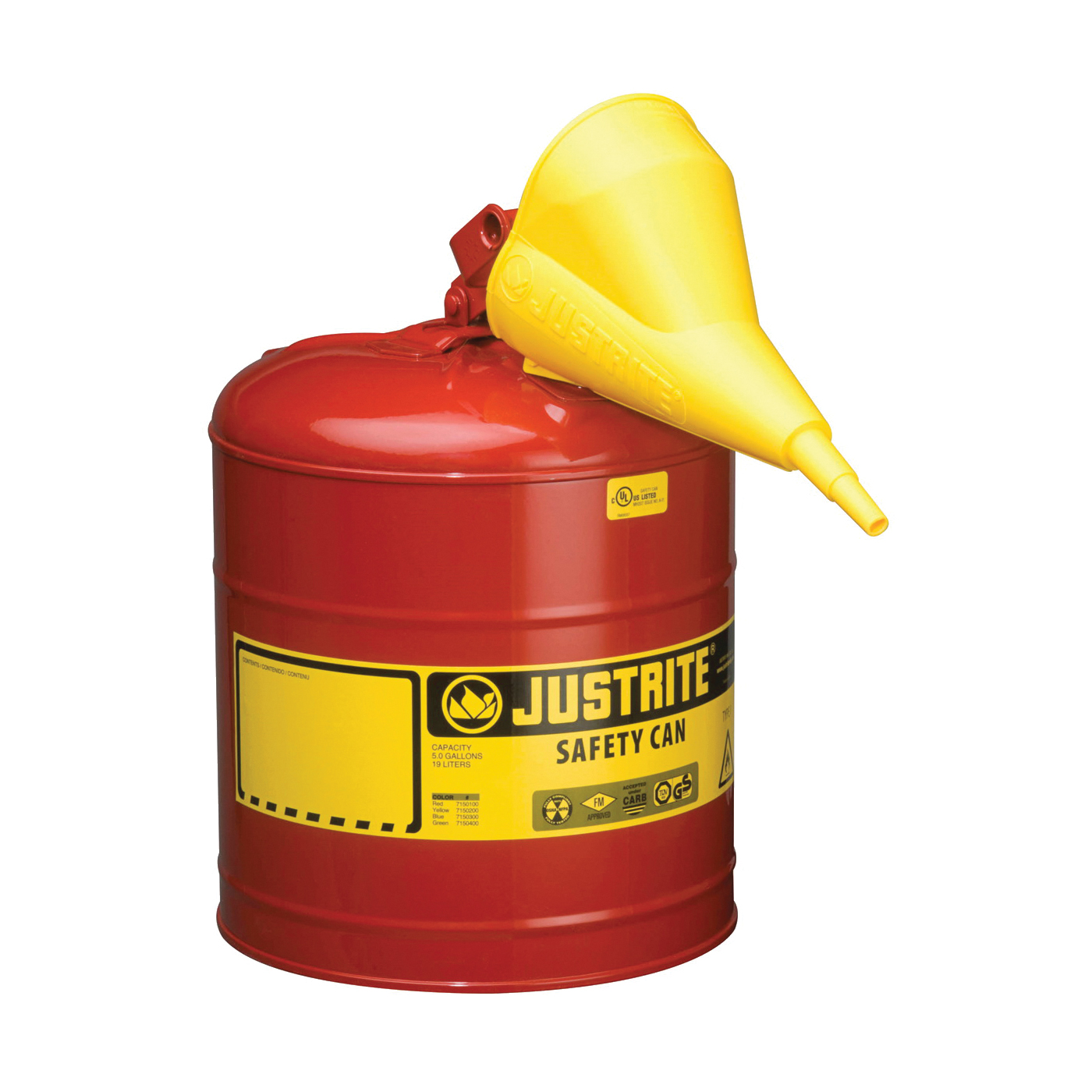 Picture of JUSTRITE 7150110 Safety Can, 5 gal Capacity, Steel, Red