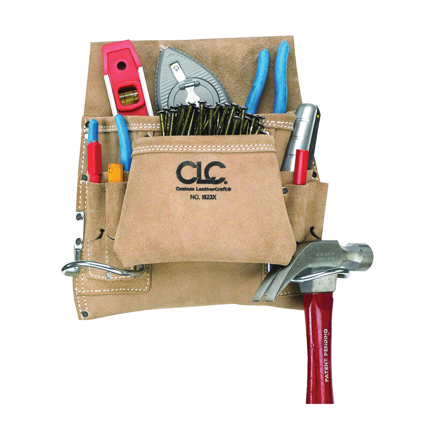 Picture of CLC Tool Works I823X Nail/Tool Bag, 20 in W, 12 in H, 8 -Pocket, Suede Leather, Tan