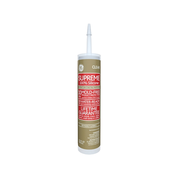 Picture of GE Supreme M90006 Silicone Caulk, Colorless, -60 to 400 deg F, 10.1 oz Package, Tube