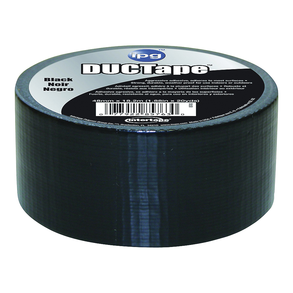 Picture of IPG 6720BLK Duct Tape, 20 yd L, 1.88 in W, Polyethylene-Coated Cloth Backing, Black