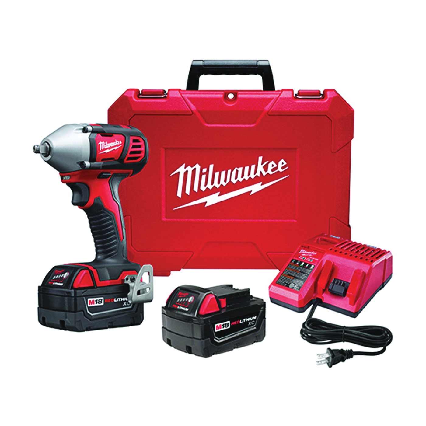 Picture of Milwaukee 2658-22 Impact Wrench Kit, Kit, 18 V Battery, 3 Ah, 3/8 in Drive, Square Drive, 167 ft-lb