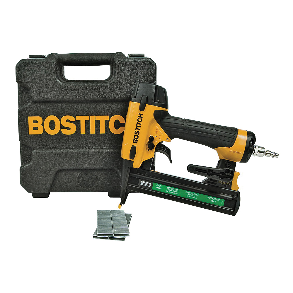 Picture of Bostitch SX1838K Stapler Kit, 7/32 in W Crown, 1/2 to 1-1/2 in L Leg, Narrow Crown Staple, 100 Magazine