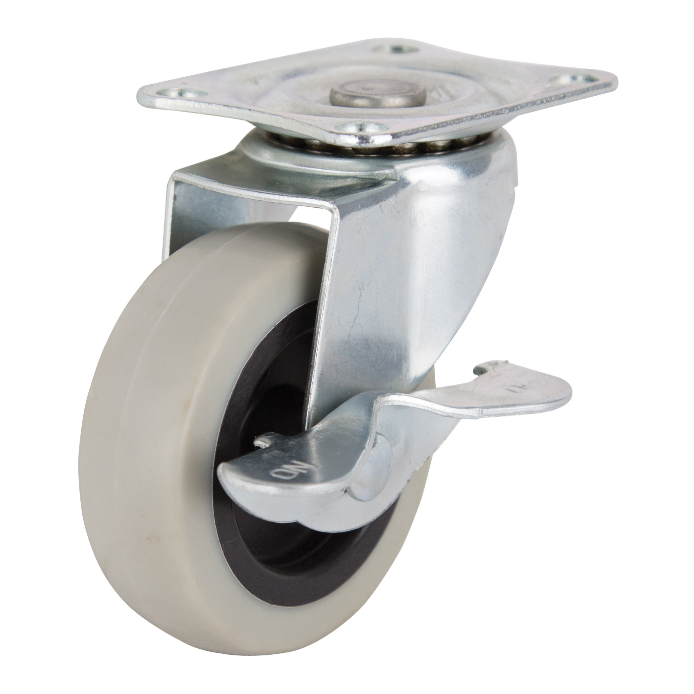 Picture of ProSource JC-N06-G Swivel Caster with Brake, 3 in Dia Wheel, Thermoplastic Rubber Wheel, Gray, 130 lb