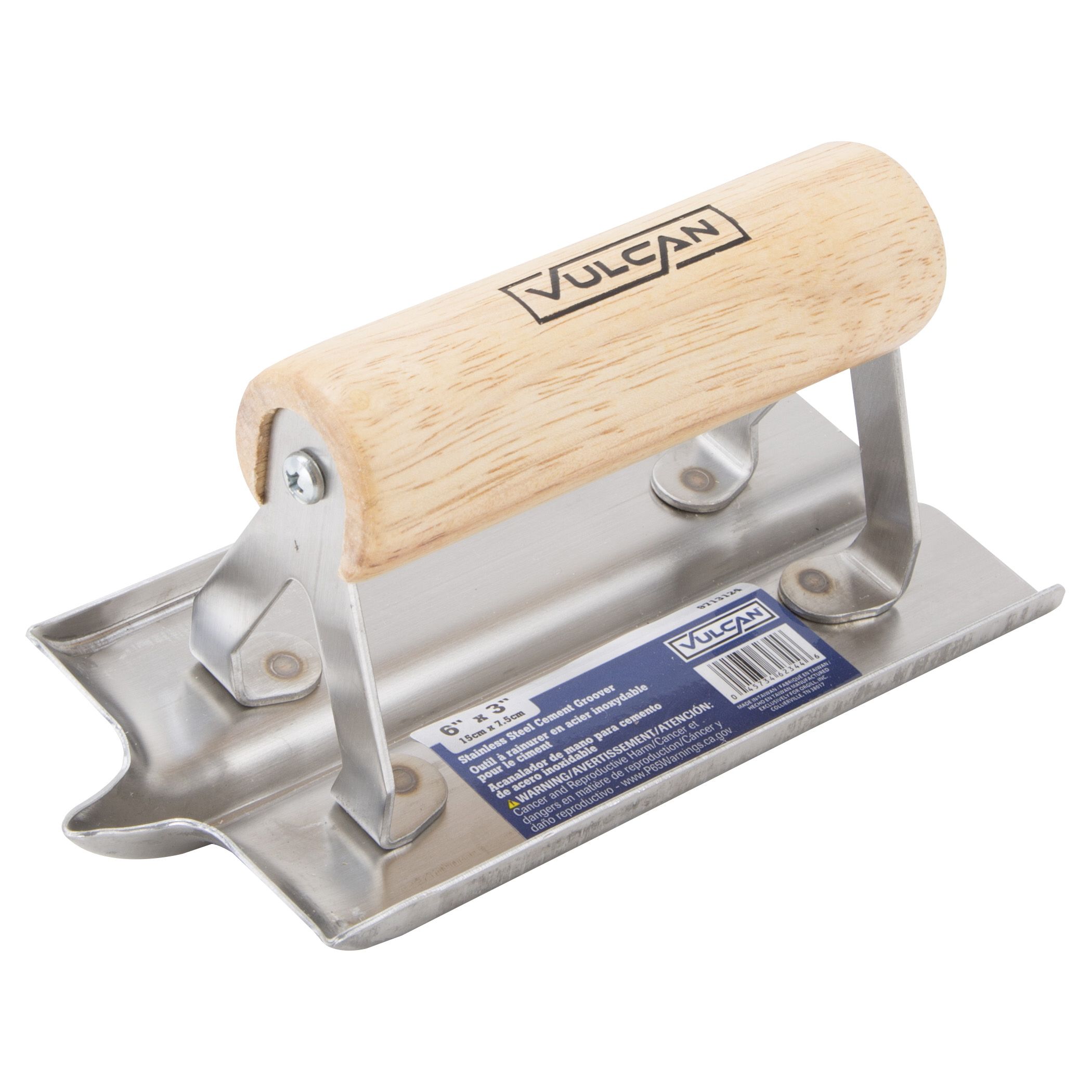 Picture of Vulcan 16901-3L Concrete Hand Groover, 6 in L Blade, 3 in W Blade, Stainless Steel Blade