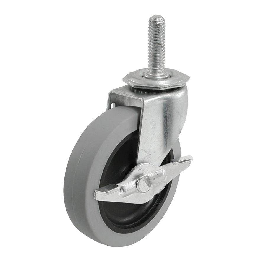 Picture of Shepherd Hardware 3266 Swivel Caster with Brake, 3 in Dia Wheel, 0.96 in W Wheel, TPR Wheel, Gray, 110 lb