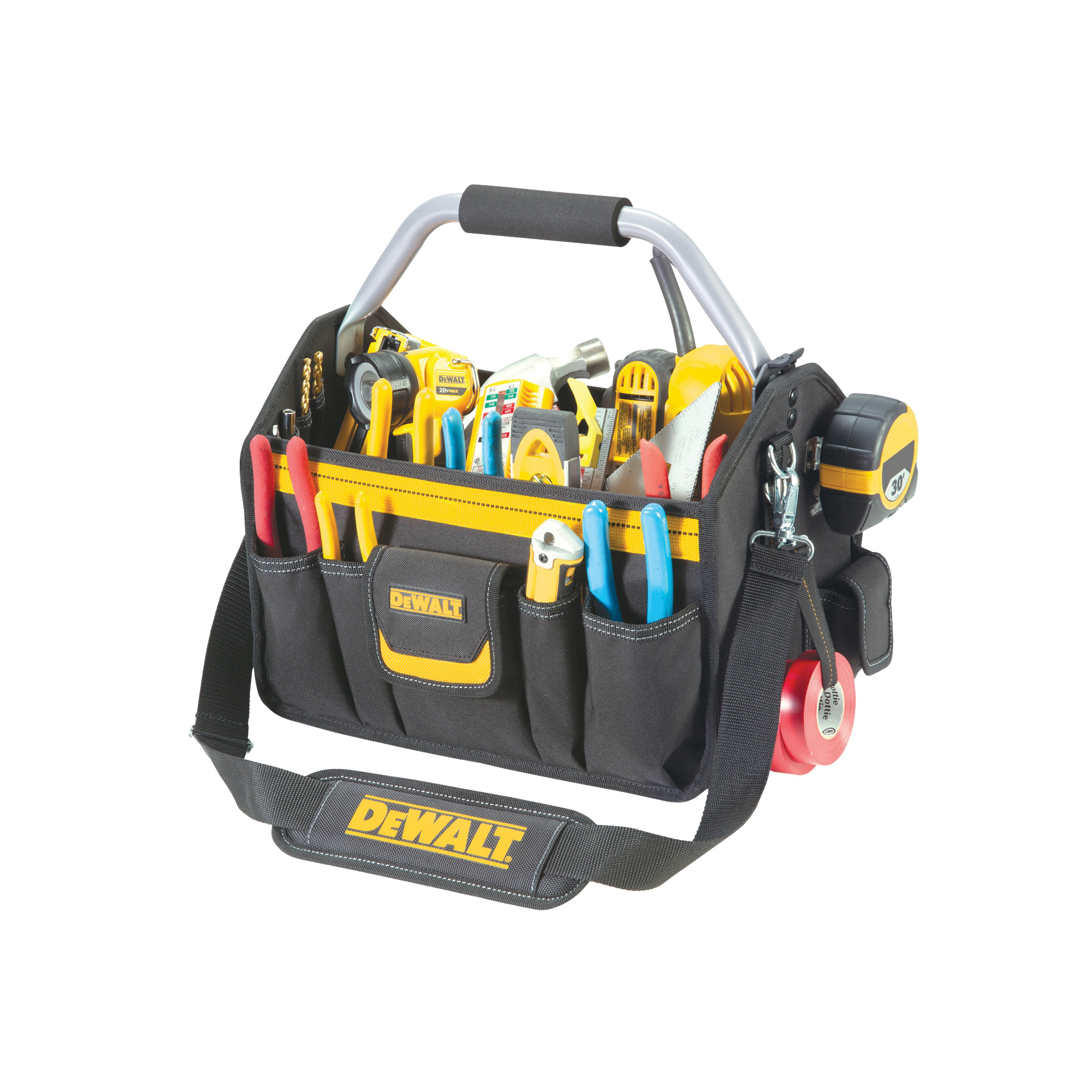 Picture of CLC DG5587 Tool Carrier, 14 in W, 8-1/2 in D, 14 in H, 23 -Pocket, Ballistic Poly Fabric, Black/Yellow