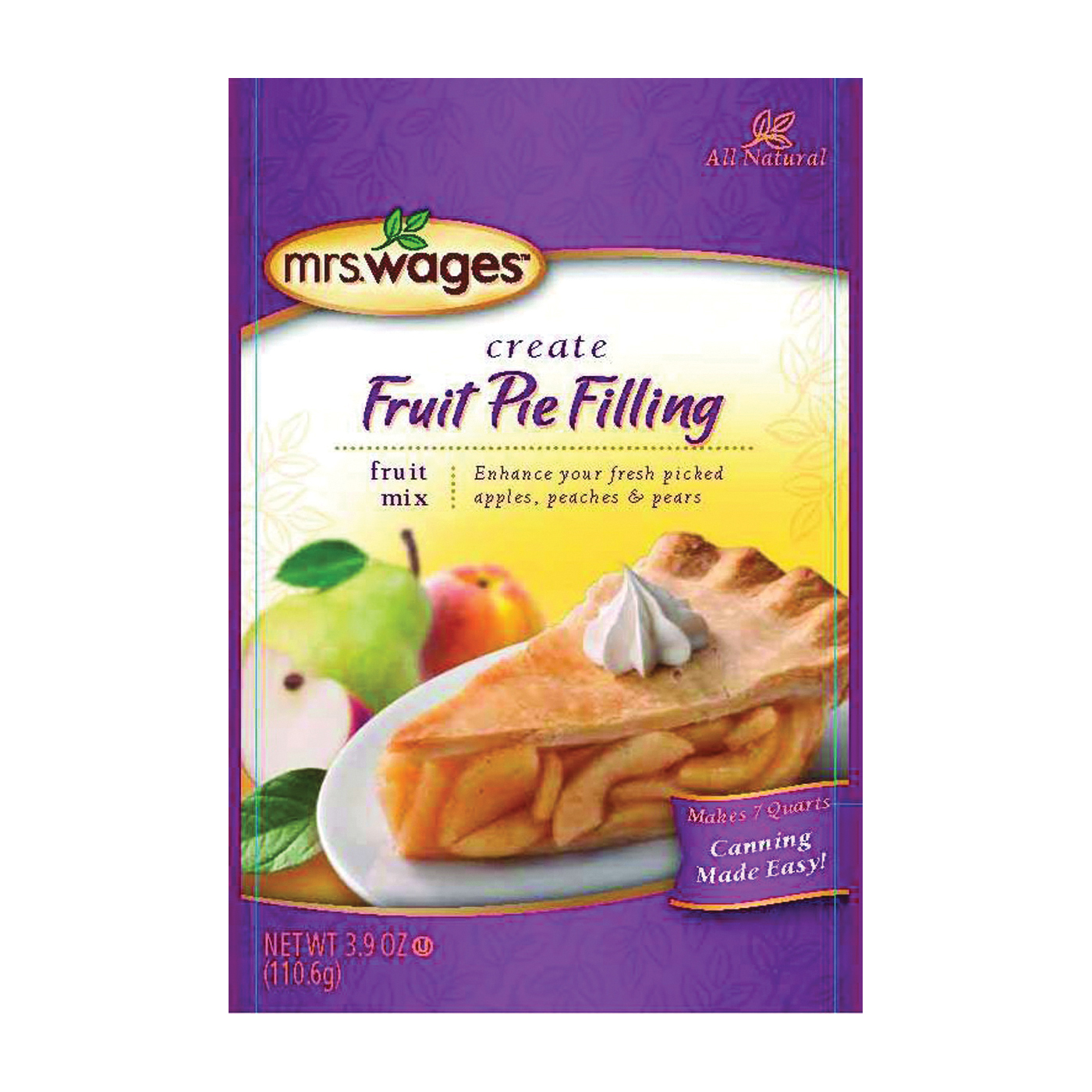 Picture of Mrs. Wages W801-J4425 Fruit Pie Filling Mix, 3.9 oz Package, Pouch