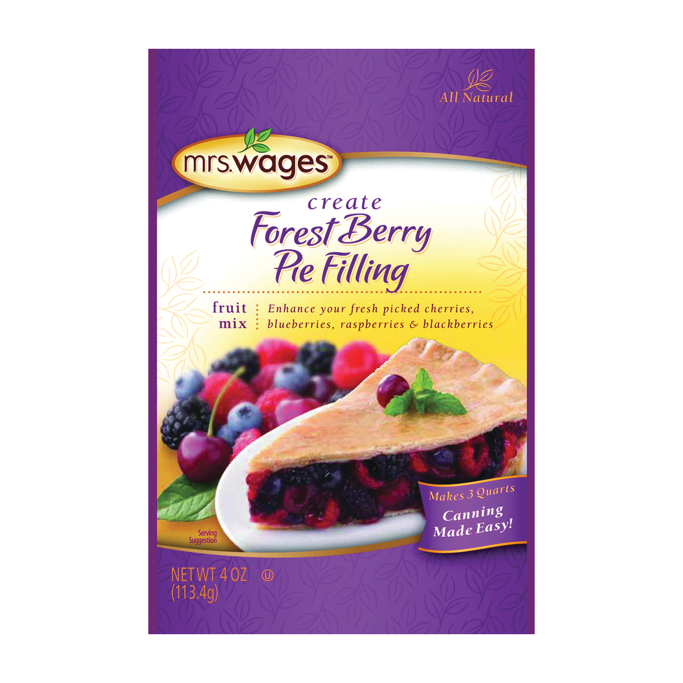 Picture of Mrs. Wages W803-J7425 Forest Berry Pie Filling Mix, 4 oz Package, Pouch
