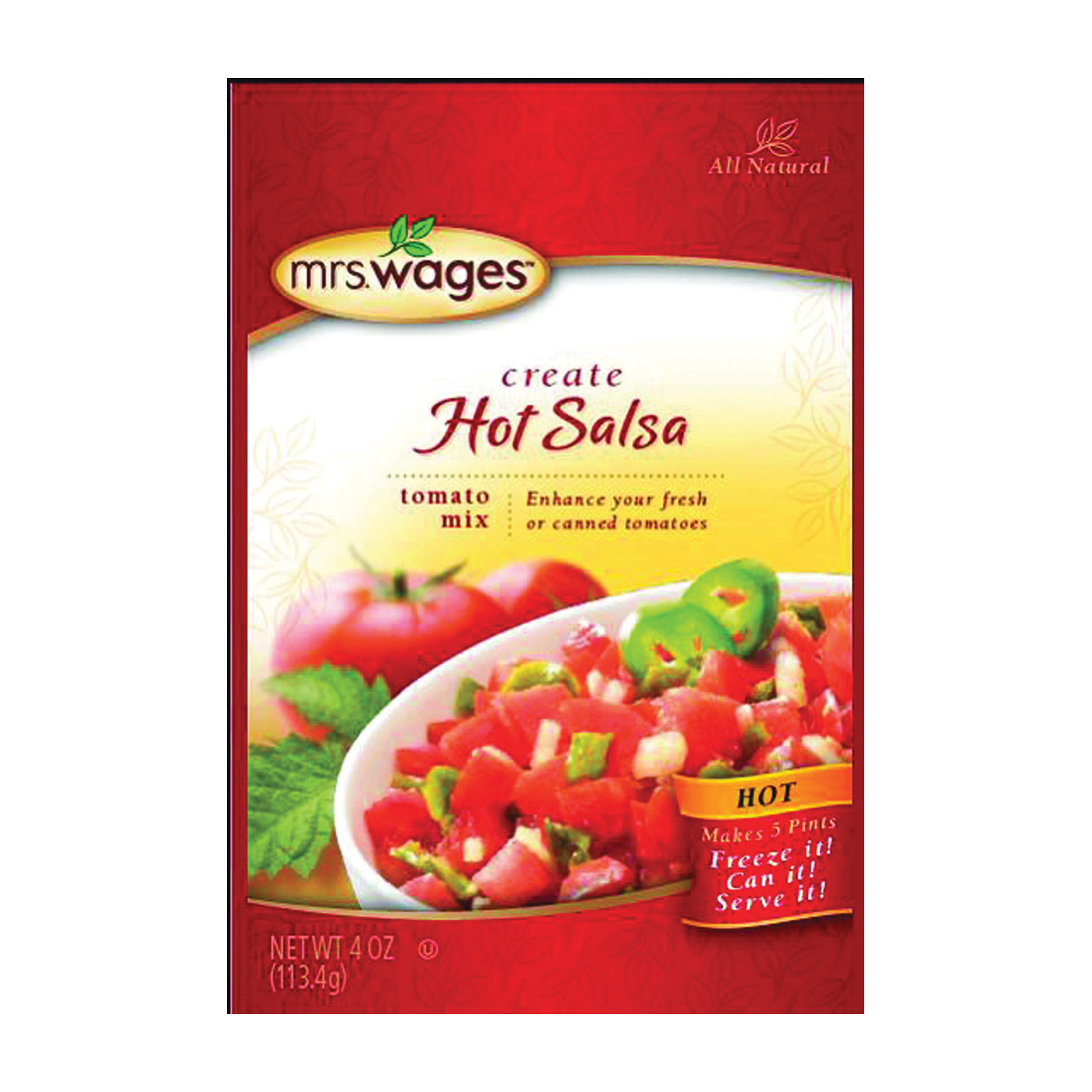 Picture of Mrs. Wages W753-J7425 Tomato Canning Mix, 4 oz Package, Pouch