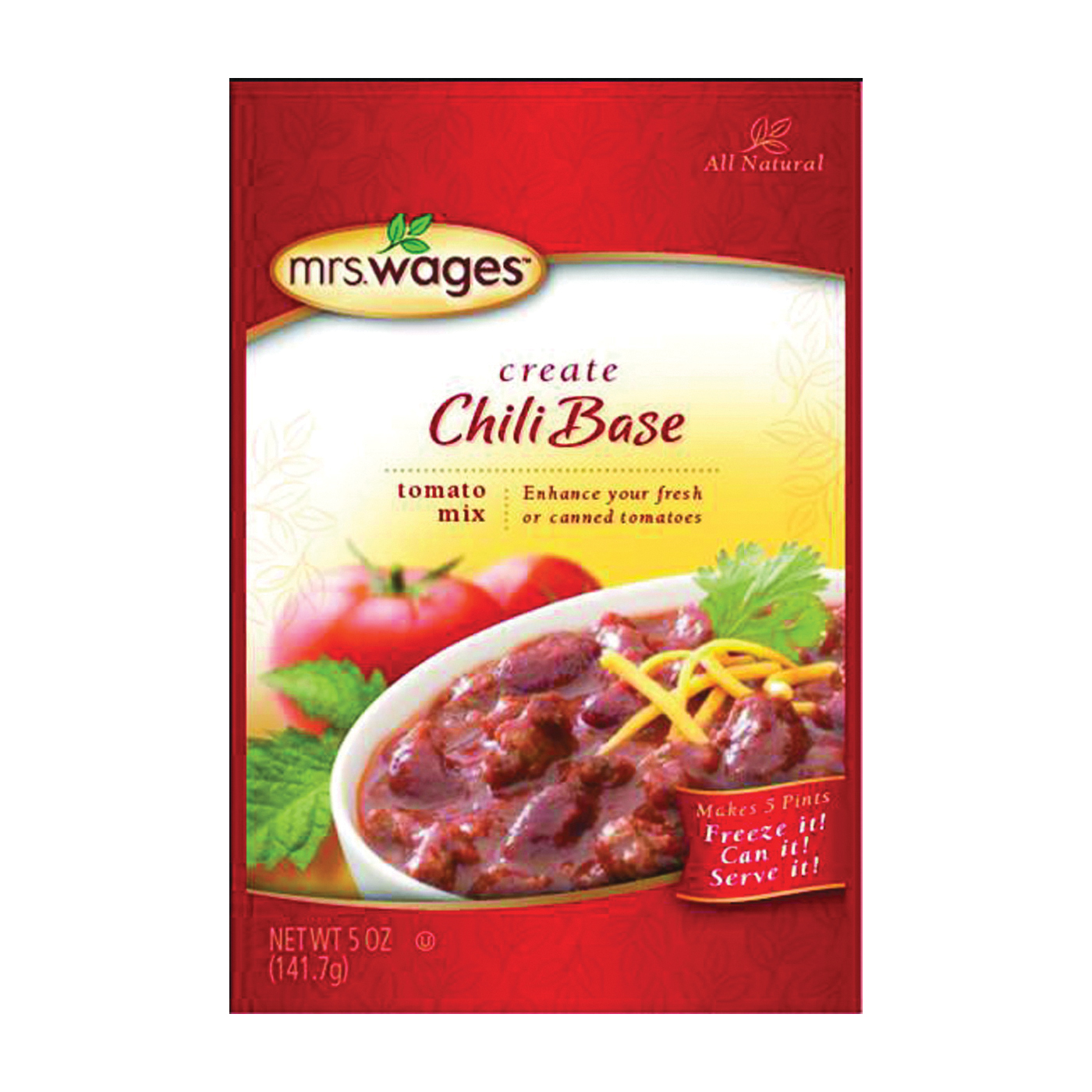 Picture of Mrs. Wages W537-J4425 Canning Chili Mix, 5 oz Package, Pouch