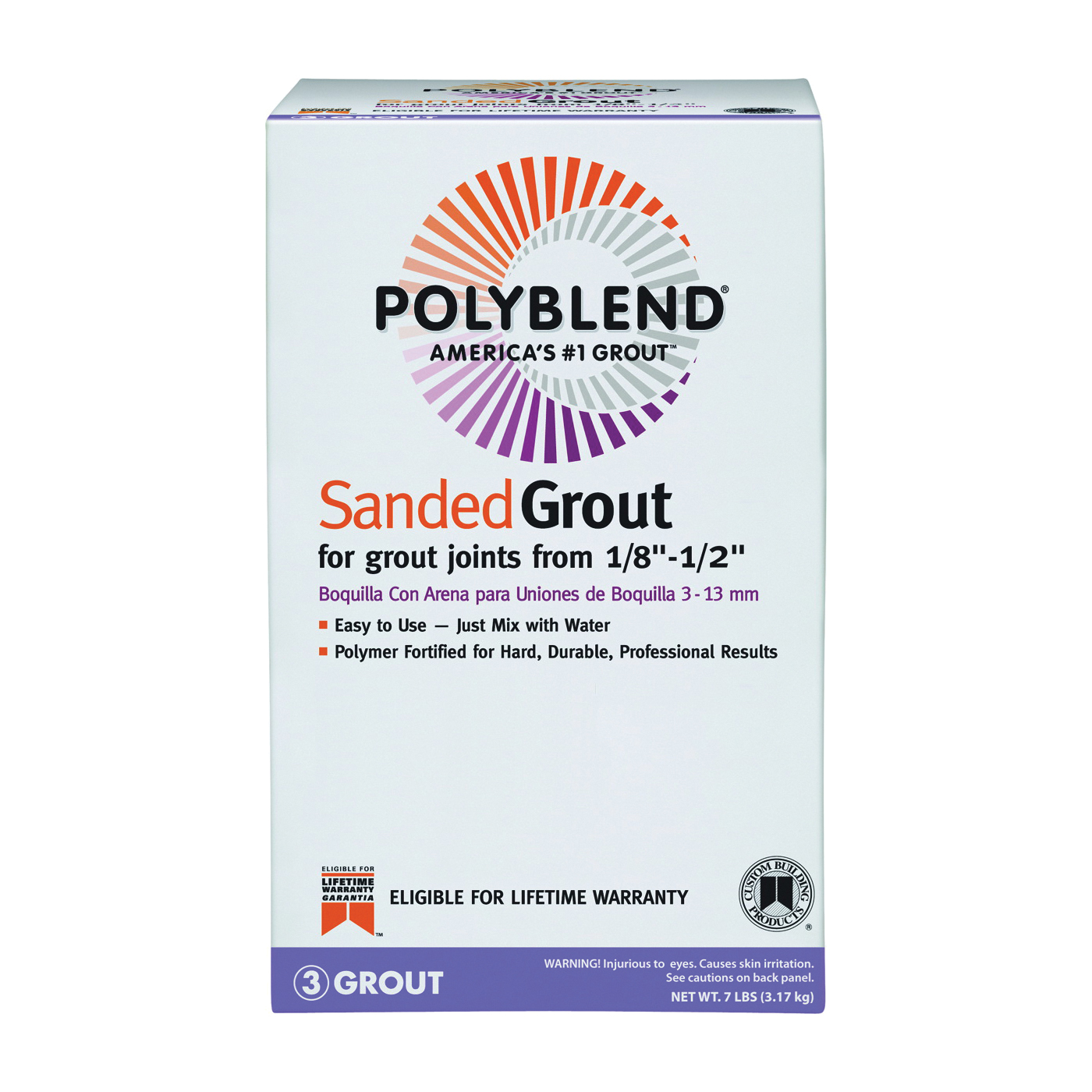 Picture of CUSTOM PBG1227-4 Tile Grout, Powder, Characteristic, Linen, 7 lb Package, Box