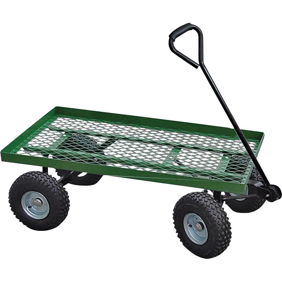 Picture of Landscapers Select YTL22114 Garden Cart, 600 lb, Steel Deck, 4 -Wheel, 10 in Wheel, Pneumatic Wheel, Green