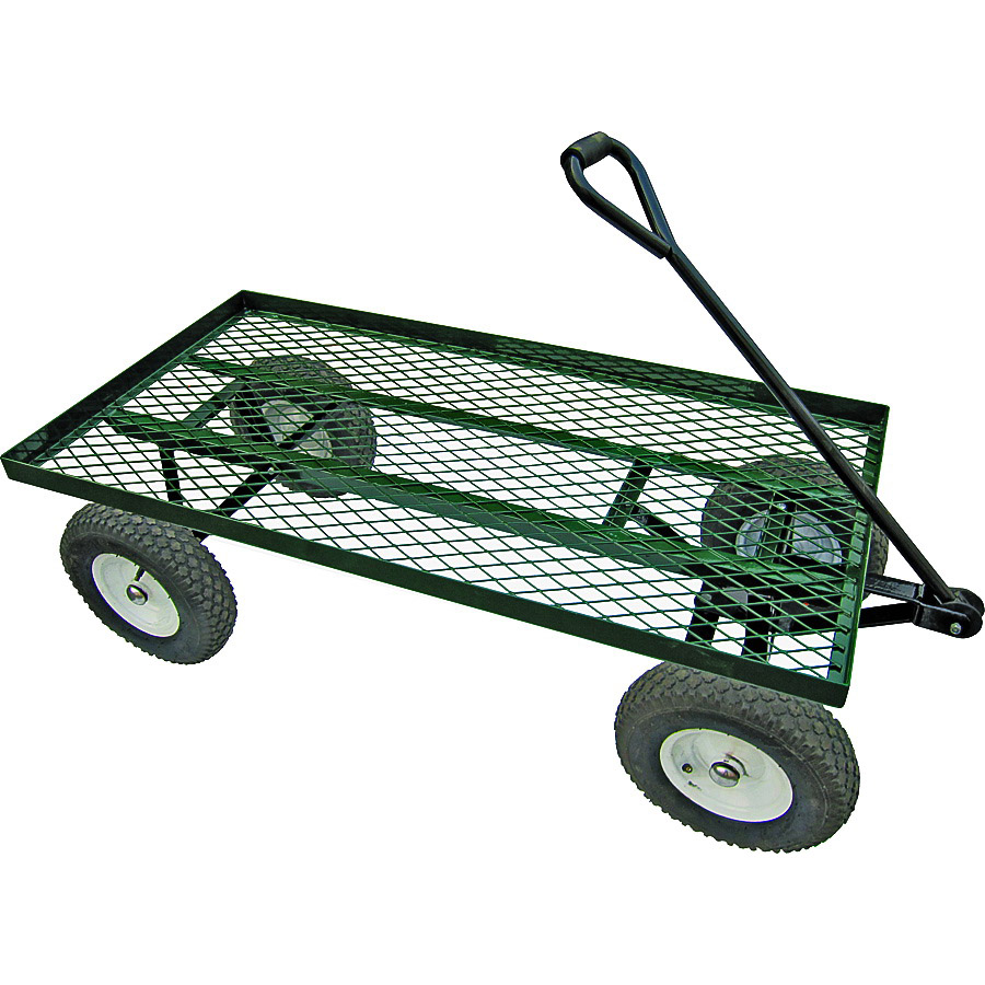 Picture of Landscapers Select YTL22115 Garden Cart, 1200 lb, Steel Deck, 4 -Wheel, 13 in Wheel, Pneumatic Wheel, Green