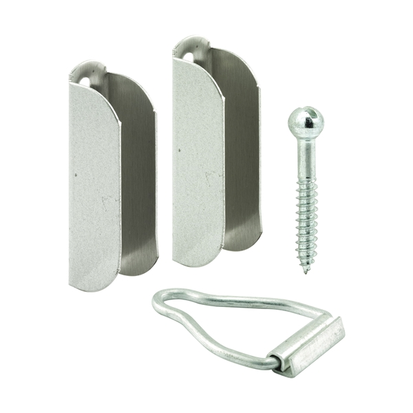 Picture of Make-2-Fit PL 8101 Top Hanger and Bottom Latch, Aluminum, Mill, For: 3/8 in Screen Frame