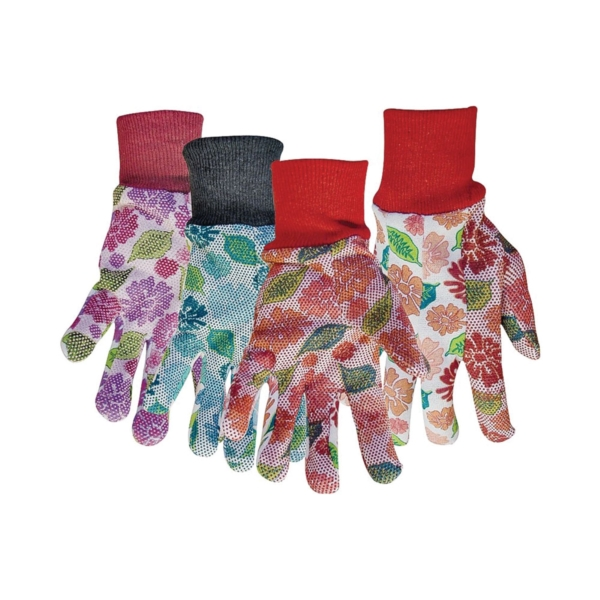 Picture of BOSS 751 Protective Gloves, Women's, One-Size, Knit Wrist Cuff, Polyester, Blue/Pink/Red