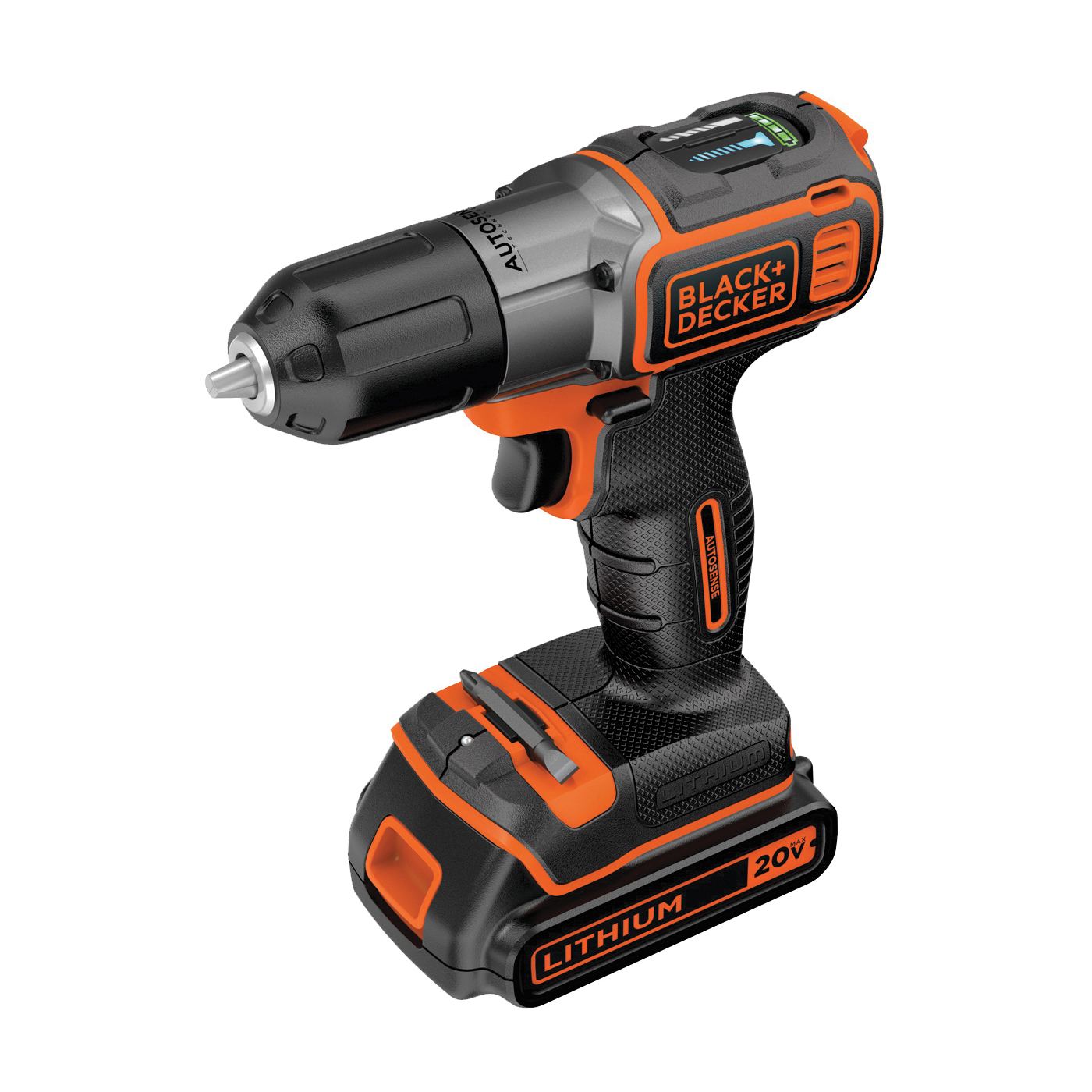 Picture of Black+Decker BDCDE120C Drill/Driver, Kit, 20 V Battery, 3/8 in Chuck, Battery Included: Yes