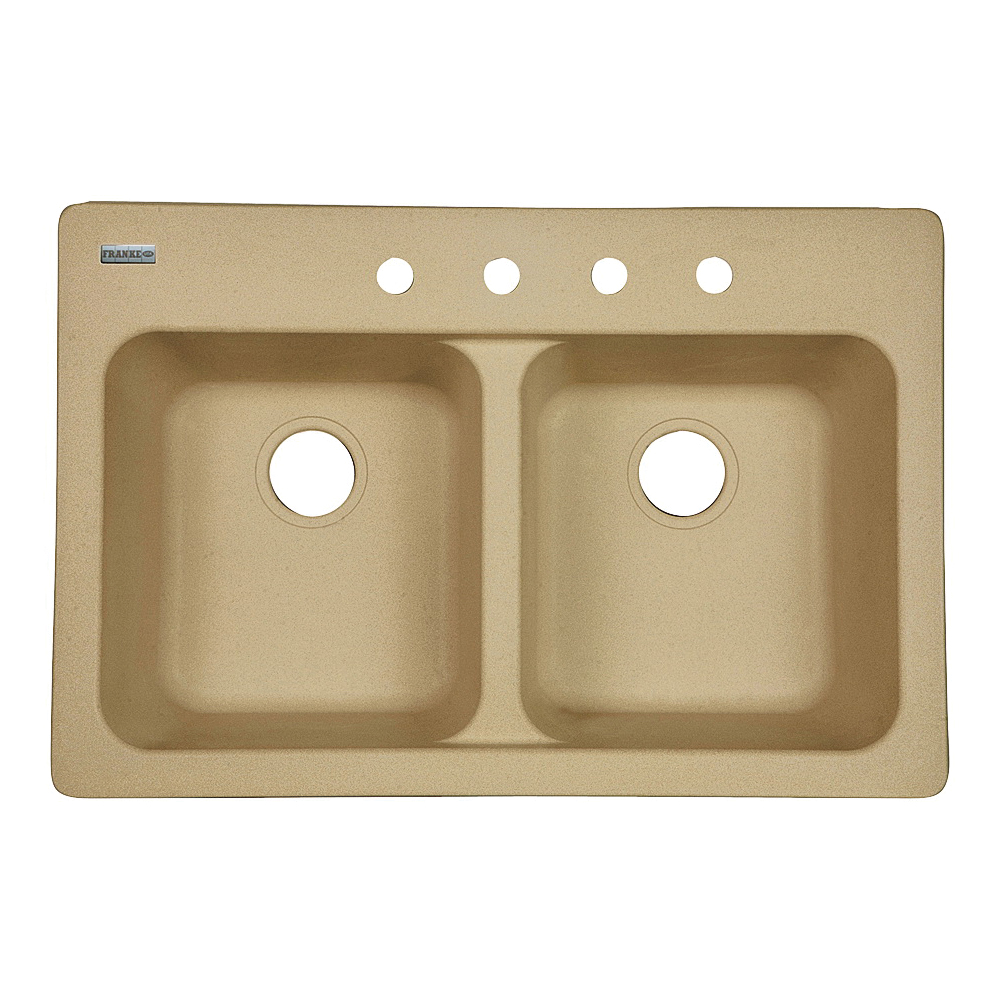 Picture of KINDRED FTS904BX Kitchen Sink, 4-Deck Hole, 33 in OAW, 22 in OAH, 9 in OAD, Tectonite, Sand, Top Mounting