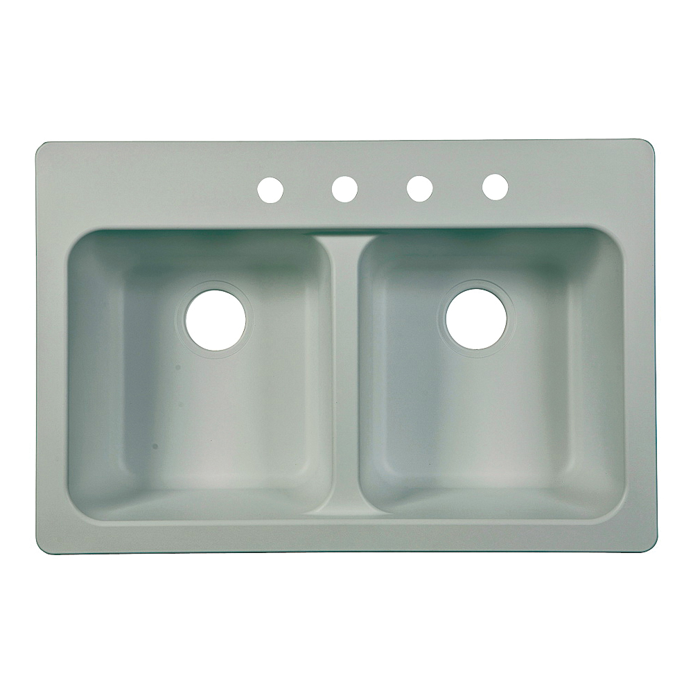 Picture of KINDRED FTW904BX Kitchen Sink, 4-Deck Hole, 33 in OAW, 22 in OAH, 9 in OAD, Tectonite, White, Top Mounting
