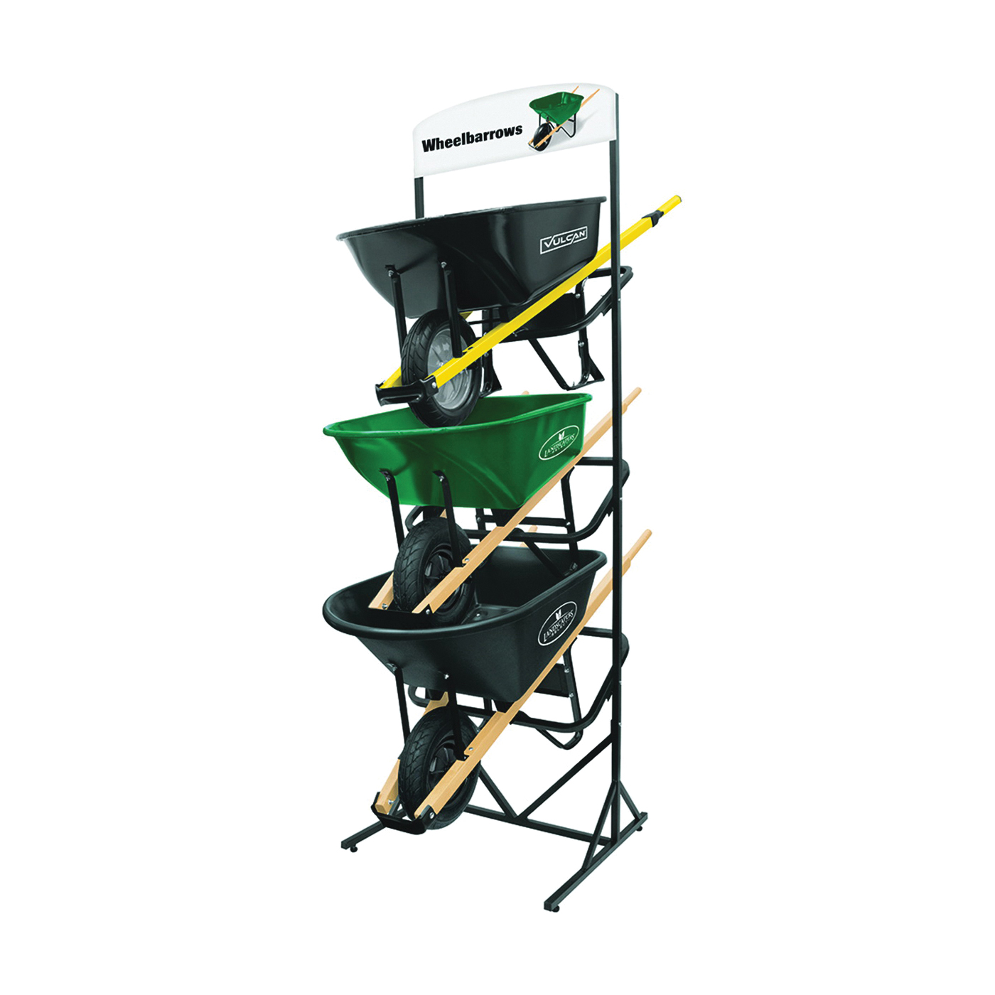Picture of Vulcan 55432 Wheelbarrow Displayer with Sign, 32 in W, 98 in H, 30 in L