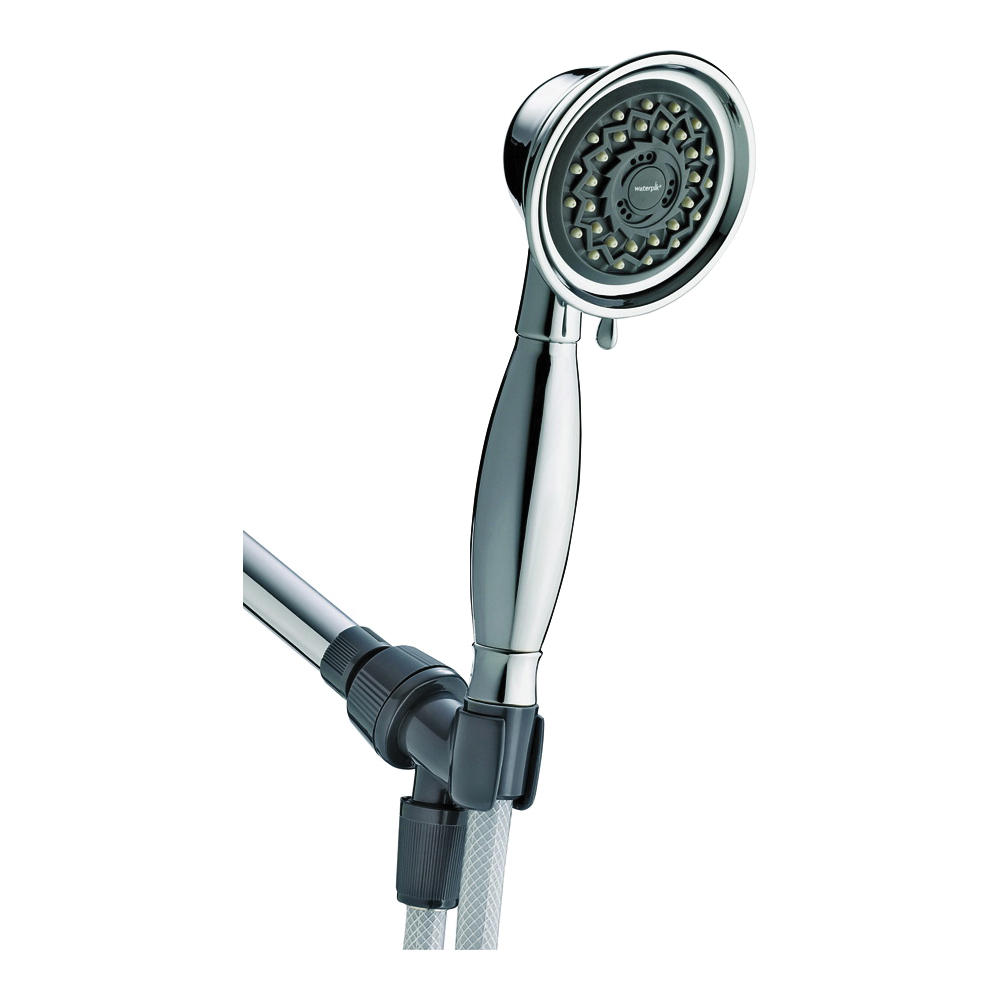 Picture of Waterpik VAT-343T Handheld Shower Head, 1/2 in Connection, 2 gpm, 3-Spray Function, Chrome, 60 in L Hose