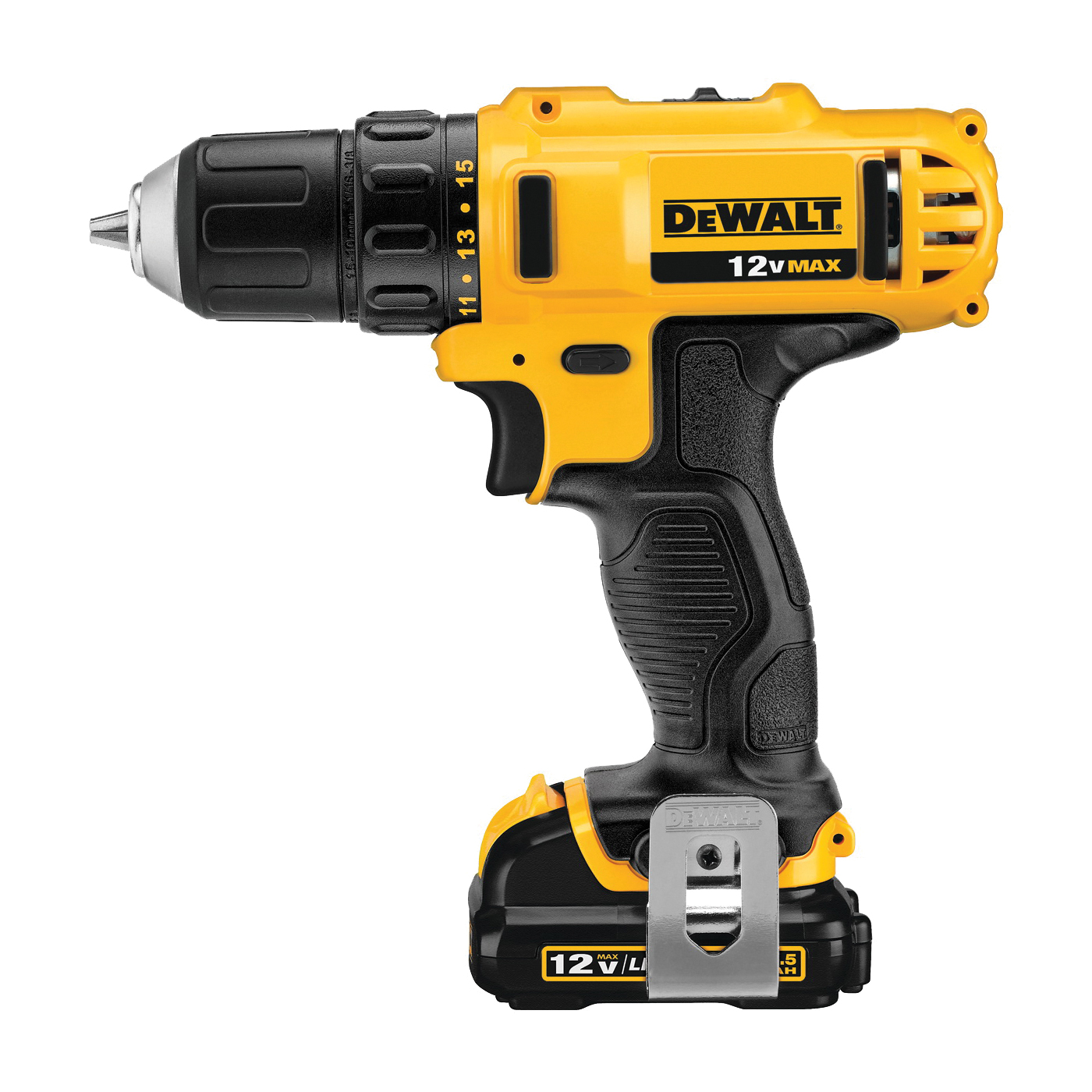 Picture of DeWALT DCD710S2 Drill/Driver Kit, Kit, 12 V Battery, 3/8 in Chuck, Keyless, Single Sleeve Chuck