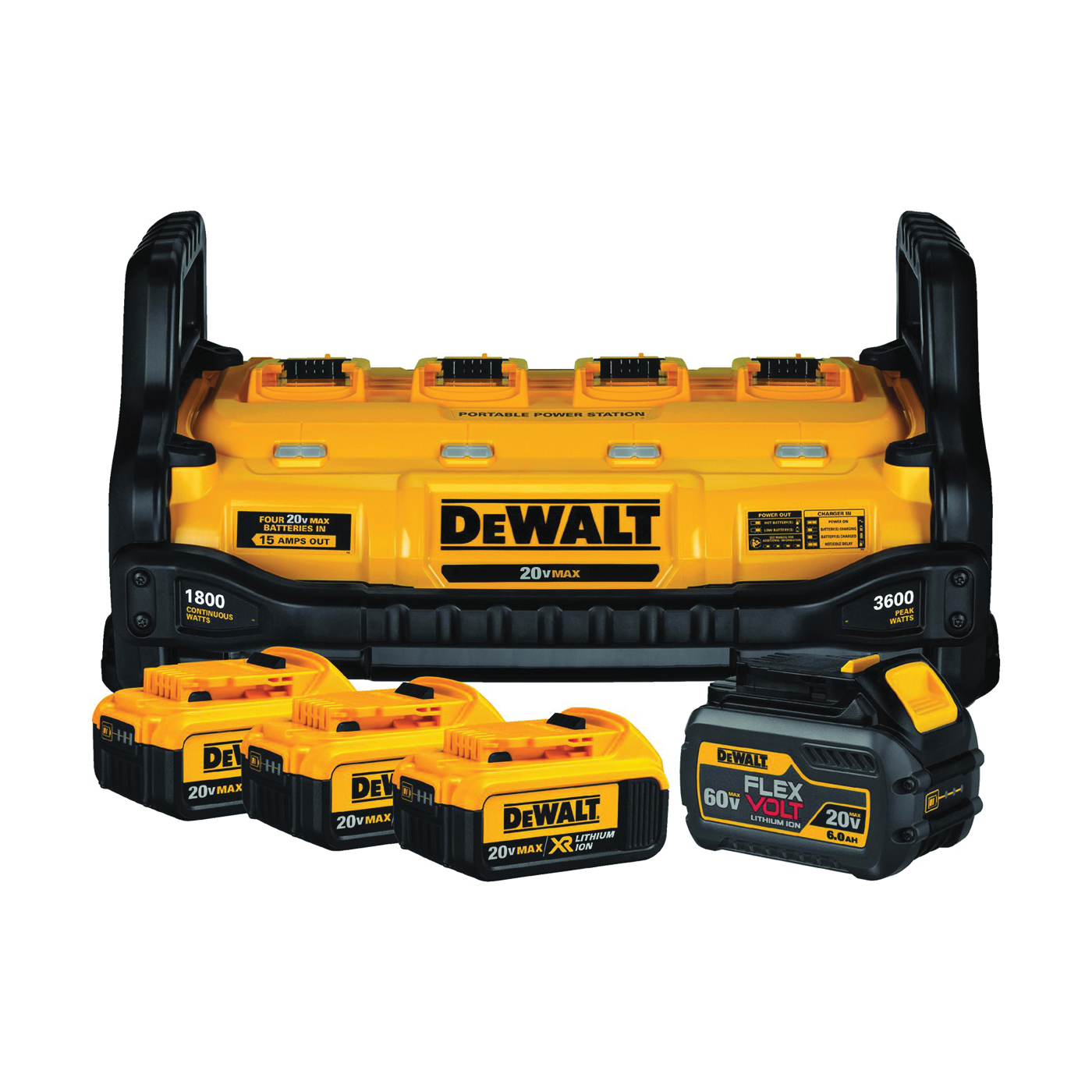 Picture of DeWALT DCB1800M3T1 Power Station and Simultaneous Battery Charge Kit, 4, 6 Ah, 2 Charge, Battery Included: No