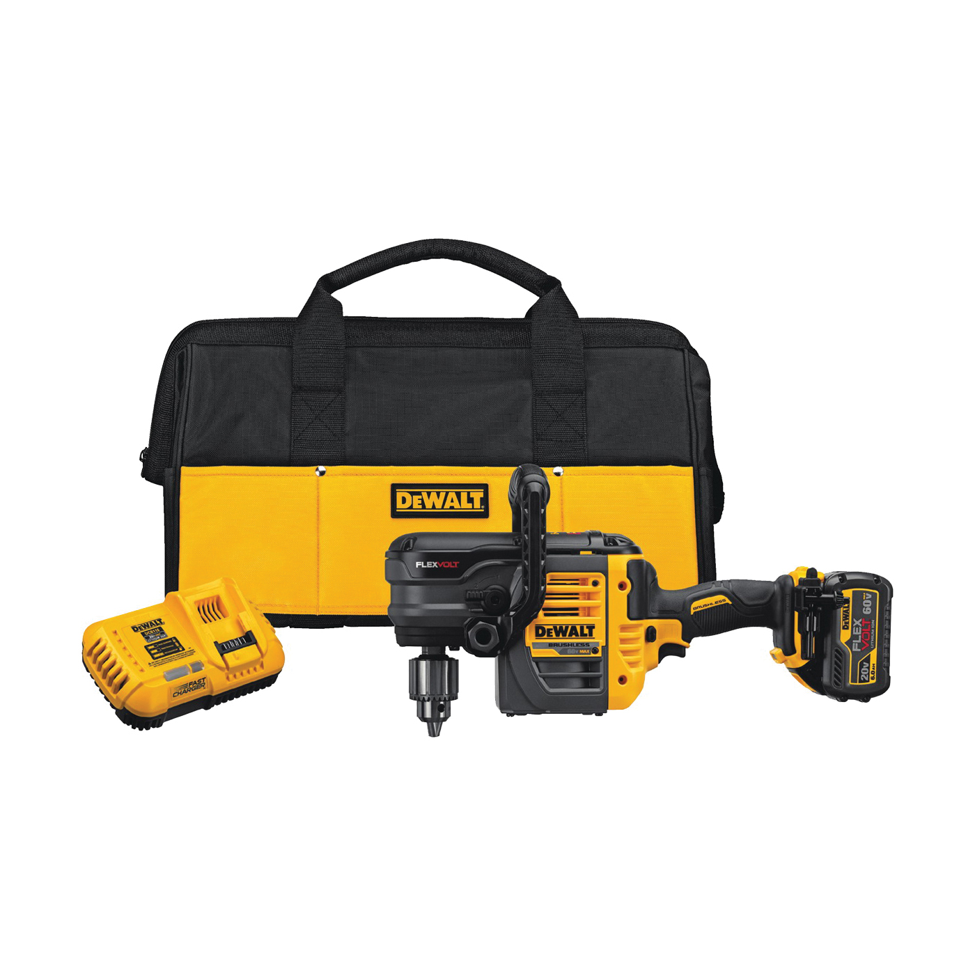 Picture of DeWALT DCD460T1 Stud and Joist Drill Kit, Kit, 60 V Battery, 1/2 in Chuck, Keyed Chuck, Battery Included: Yes