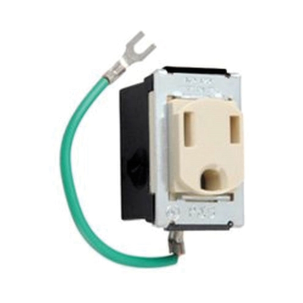 Picture of Legrand 1433 Single Receptacle, 125 V, 15 A, NEMA WD-1, WD-6, Ivory