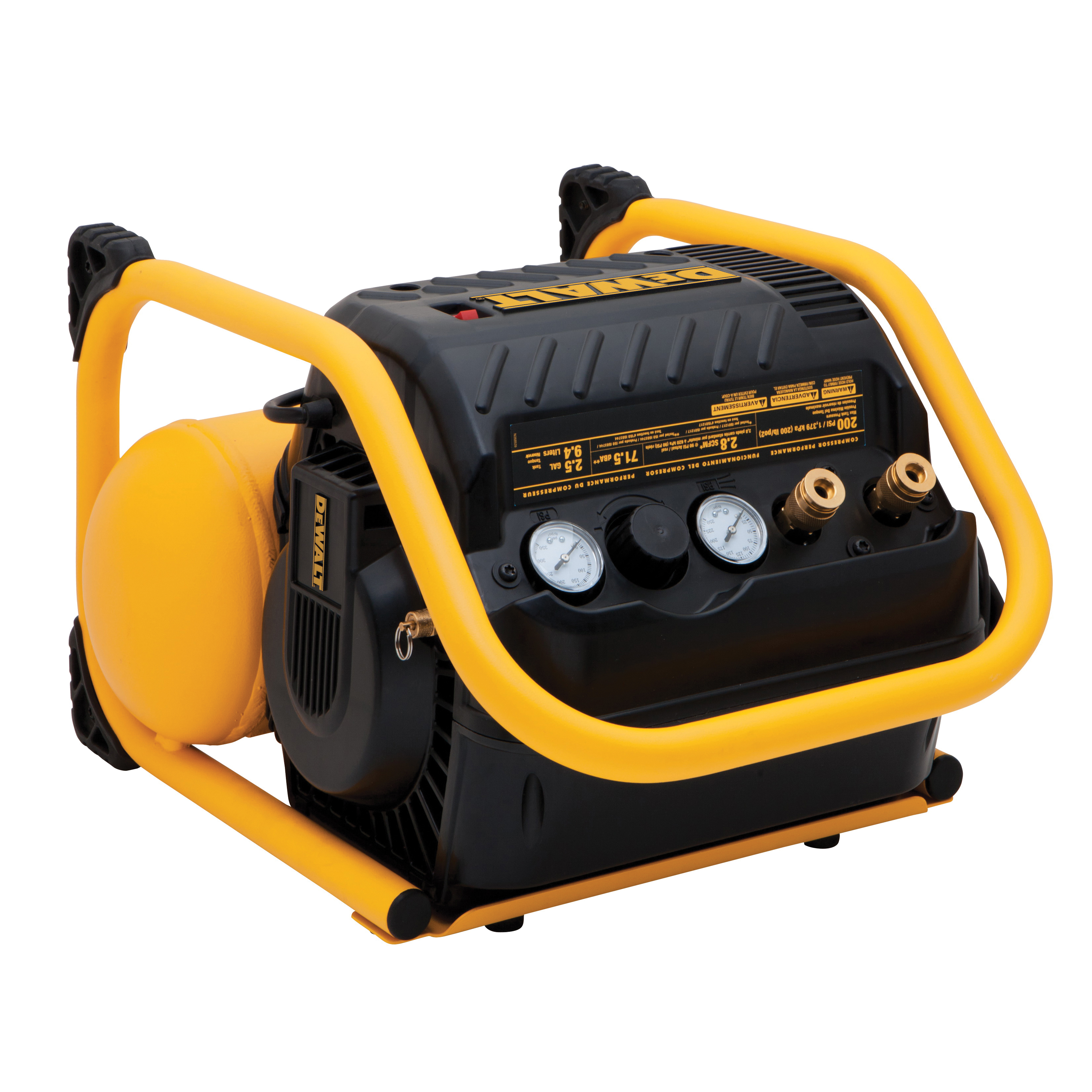 Picture of DeWALT DWFP55130 Quiet Trim Compressor, 2.5 gal Tank, 1.1 hp, 120 V, 200 psi Pressure, 4 scfm Air