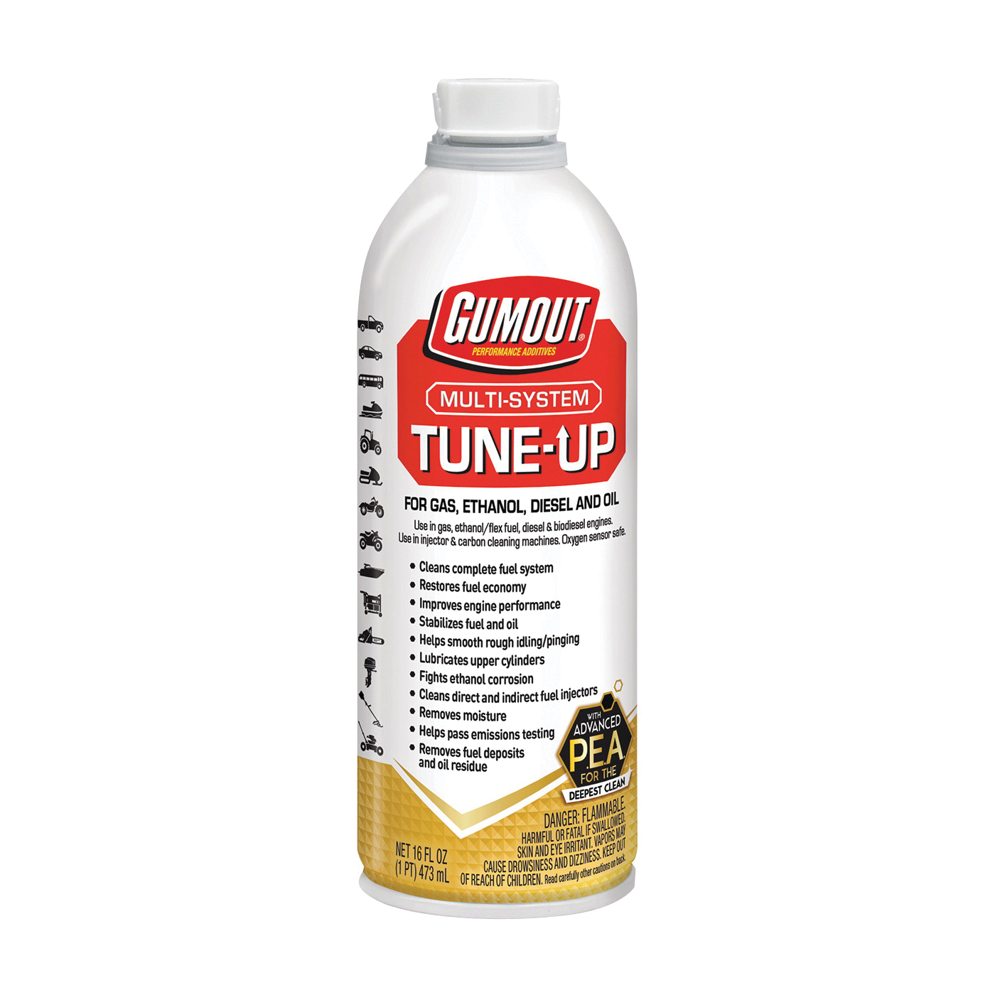 Picture of Gumout 510011 Tune-Up Amber/Clear, 16 oz Package, Bottle