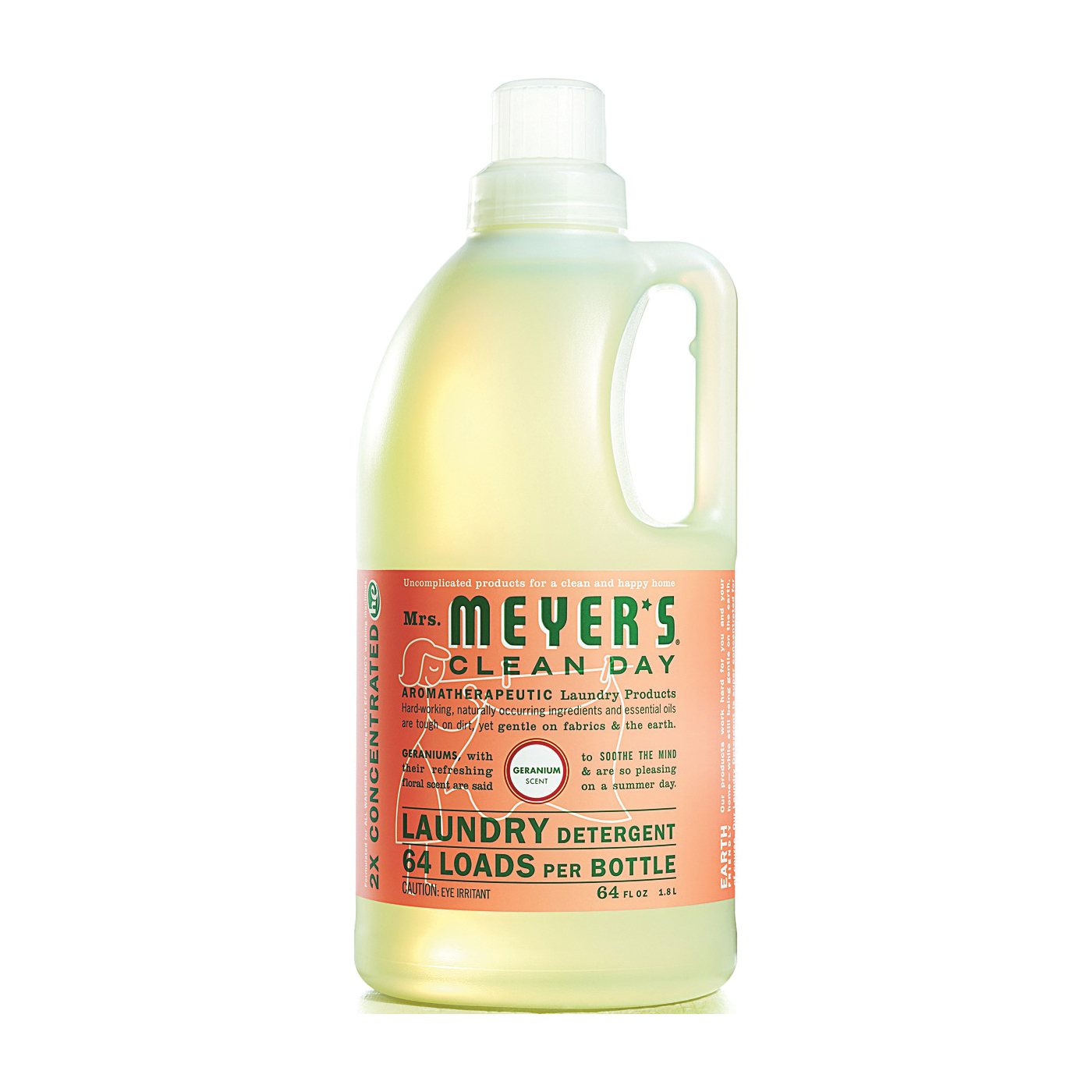 Picture of Mrs. Meyer's Clean Day 14731 Laundry Detergent, 64 oz, Bottle, Liquid, Geranium