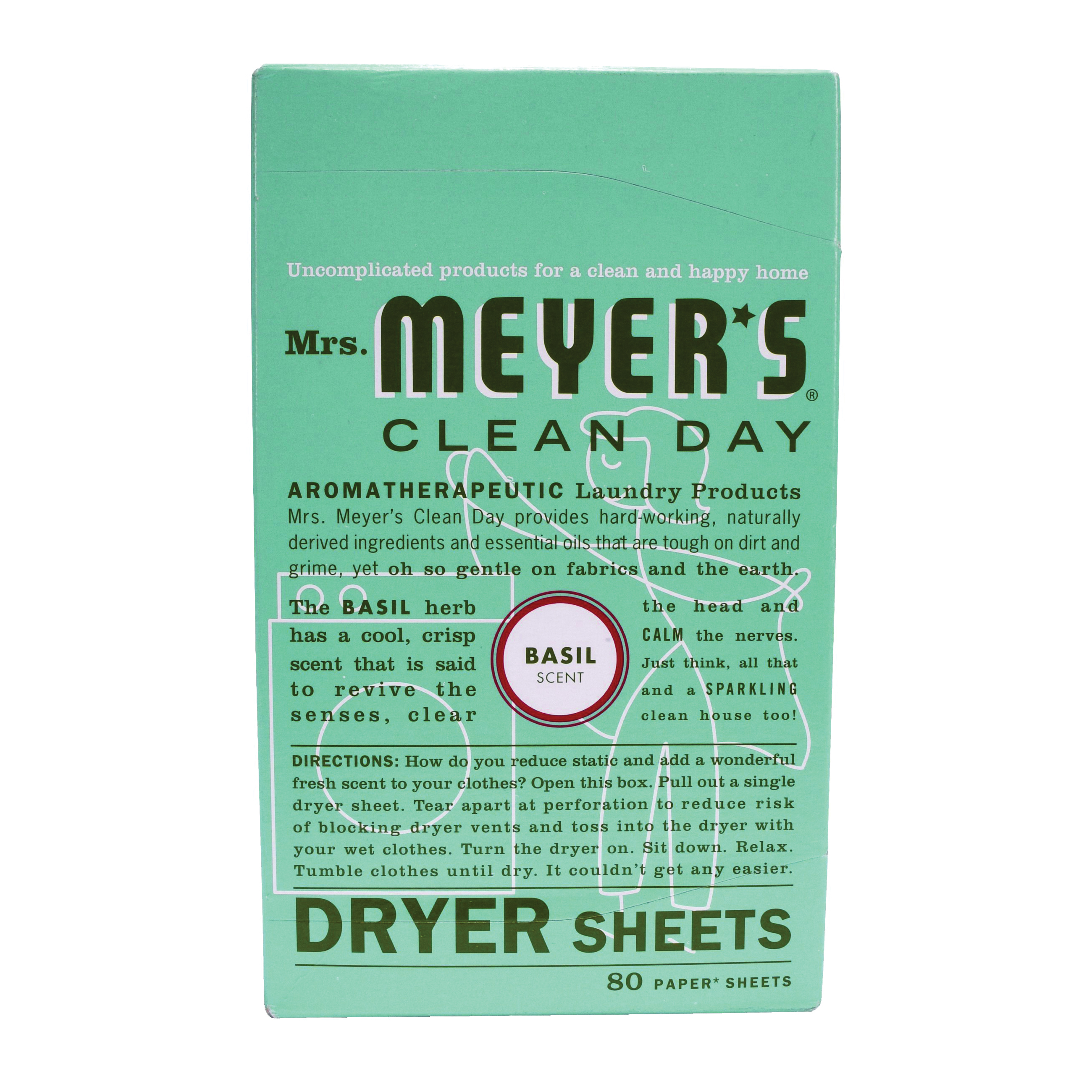 Picture of Mrs. Meyer's Clean Day 014448 Dryer Sheet, Basil, 80