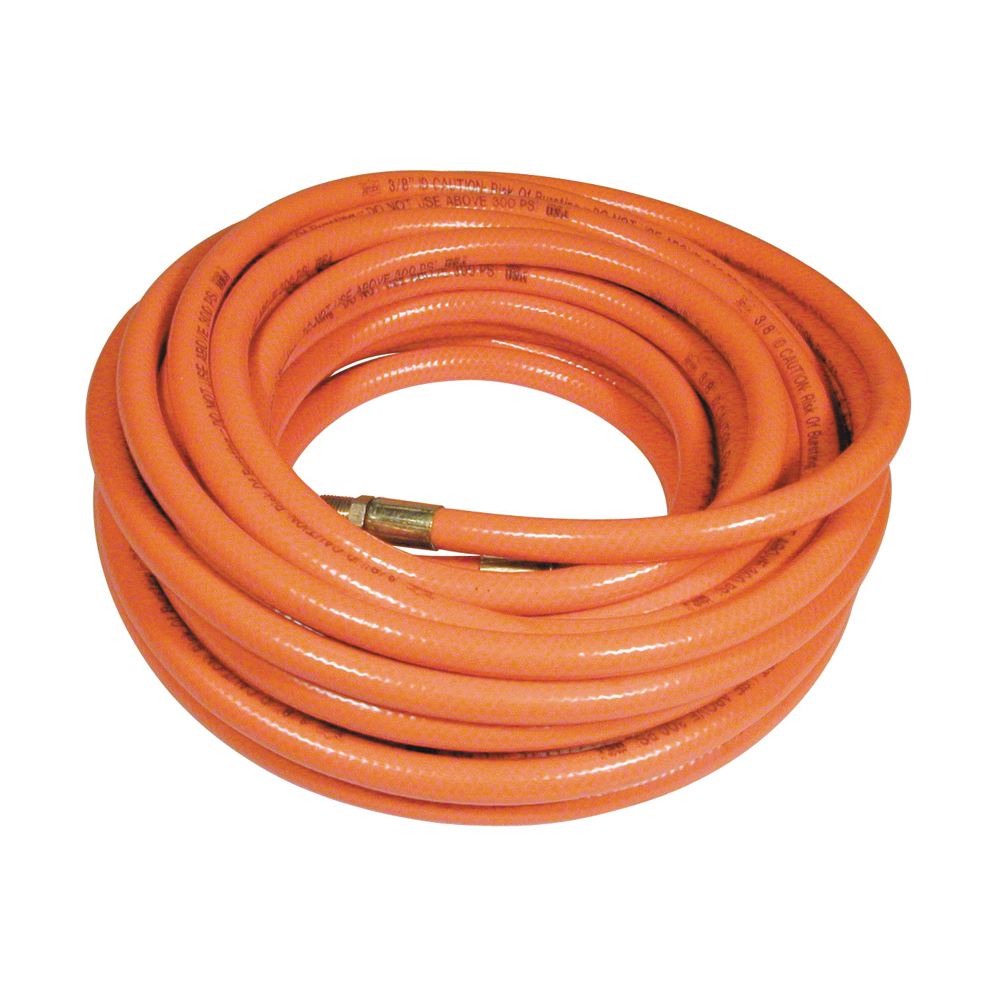 Picture of Amflo 576-50A Air Hose, 3/8 in OD, 50 ft L, MNPT, 300 psi Pressure, PVC, Orange