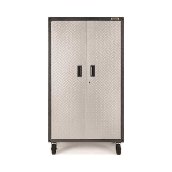 Picture of GLADIATOR GALG36CKXG Mobile Storage Cabinet, 225 lb, 5-Shelf, Steel, Silver Tread