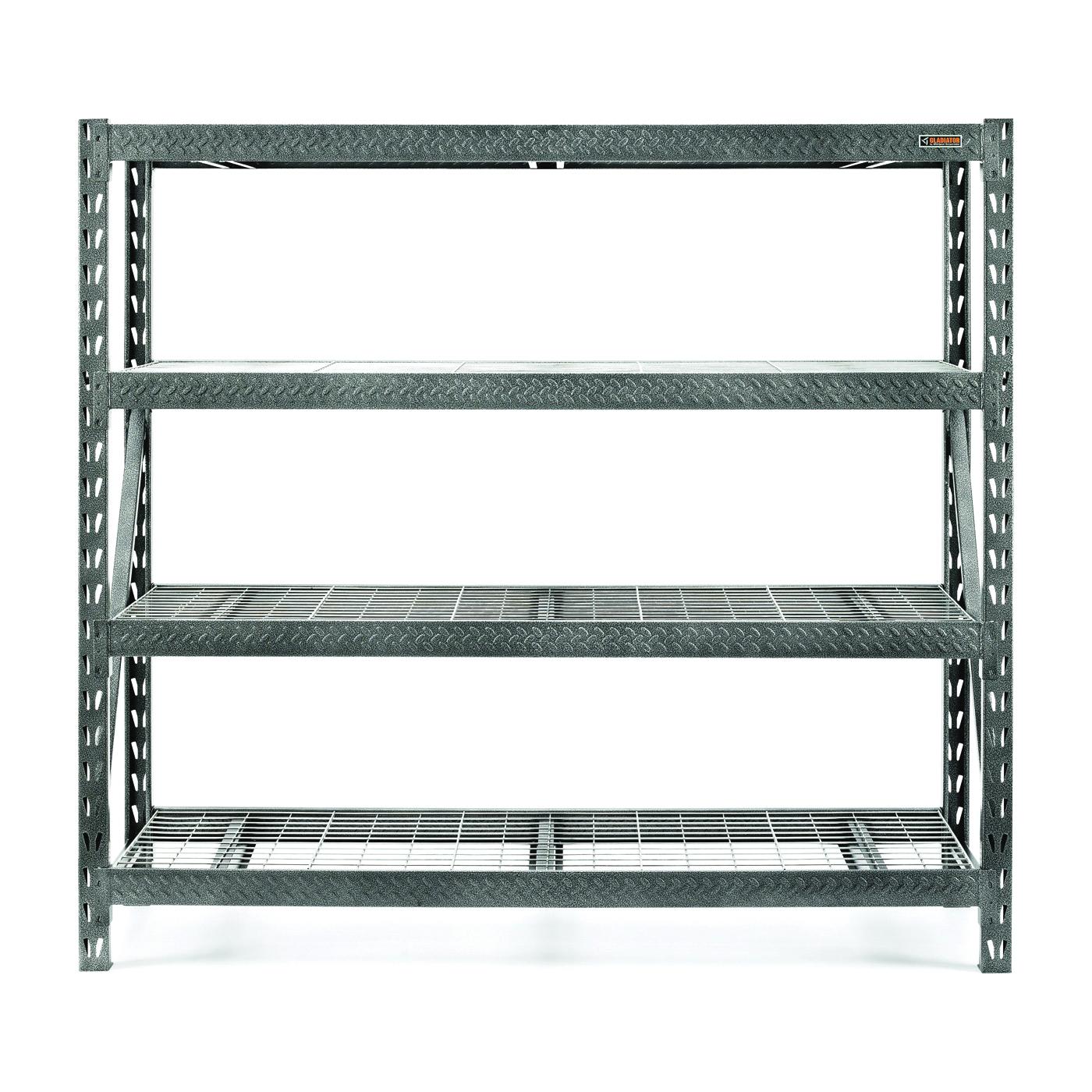 Picture of GLADIATOR GARS774XEG Rack Shelf, 8000 lb Capacity, 4-Shelf, 77 in OAW, 24 in OAD, 72 in OAH, Hammered Granite