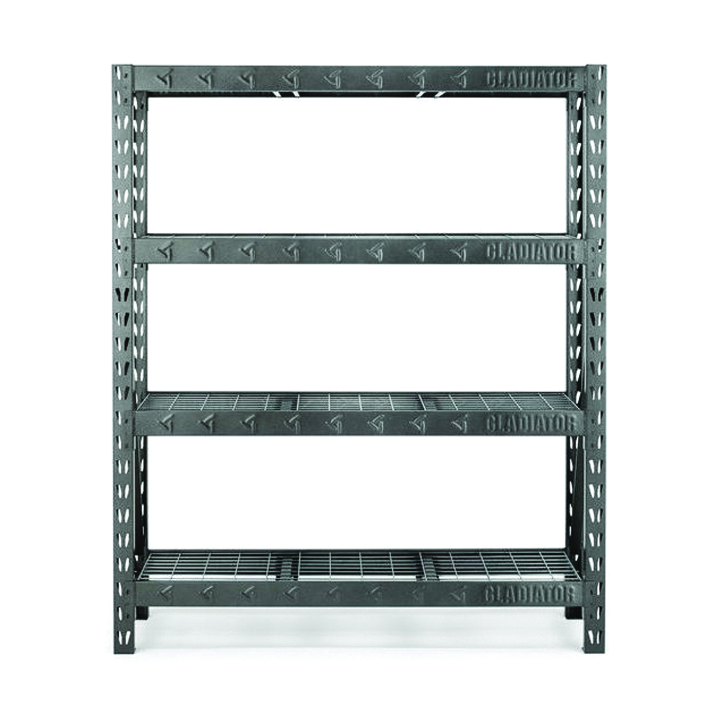 Picture of GLADIATOR GARS604TEG Rack Shelf, 7200 lb Capacity, 4-Shelf, 60 in OAW, 18 in OAD, 72 in OAH, Hammered Granite