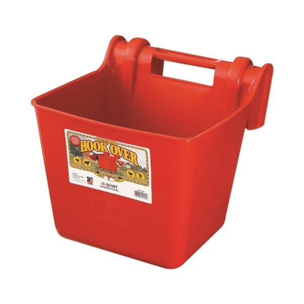 Picture of Little Giant HF15RED Hook Over Feeder, 15 qt Volume, Polyethylene, Red
