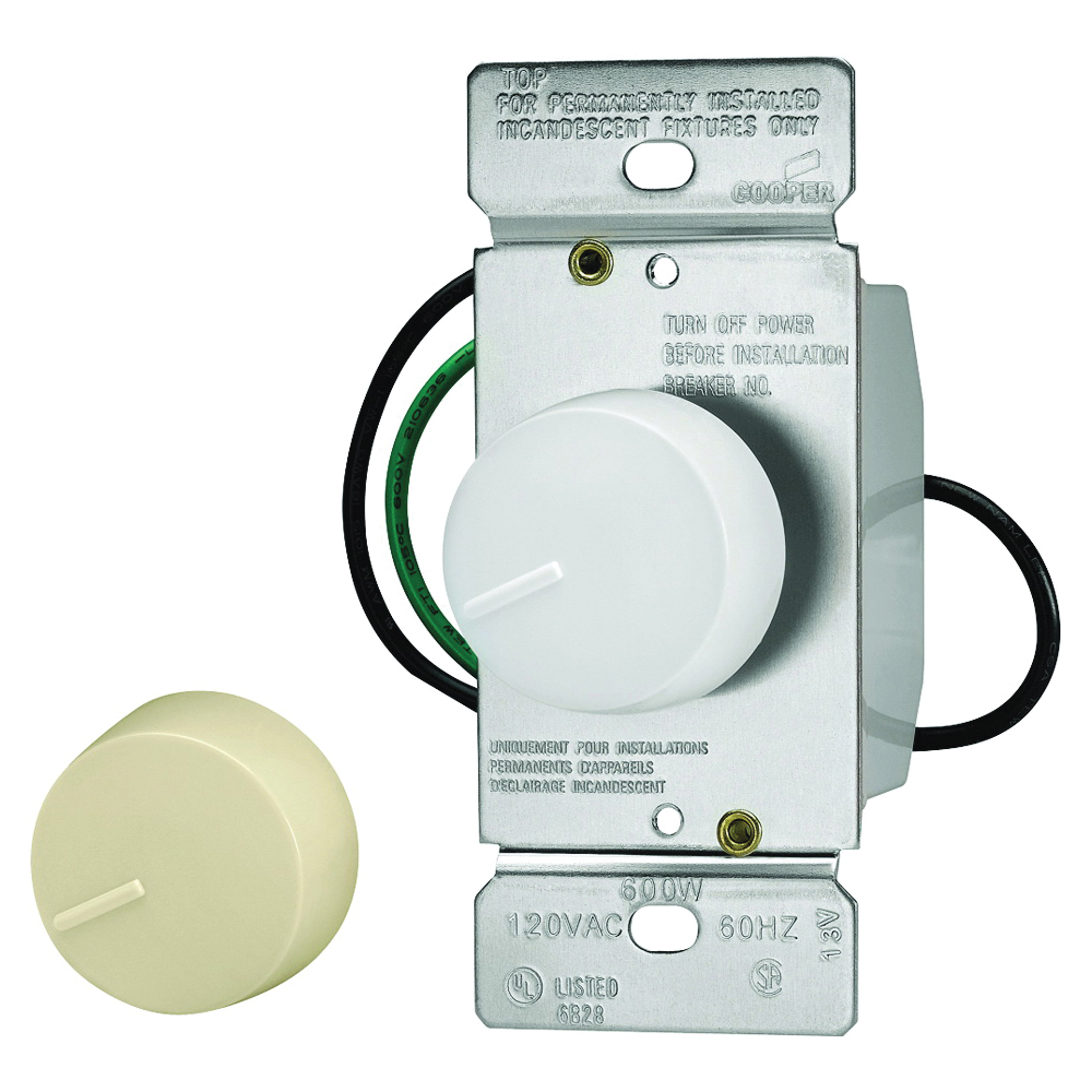 Picture of Eaton Wiring Devices RI06P-VW-K2 Rotary Dimmer, 120 V, 600 W, Halogen, Incandescent Lamp, 3-Way, Ivory/White