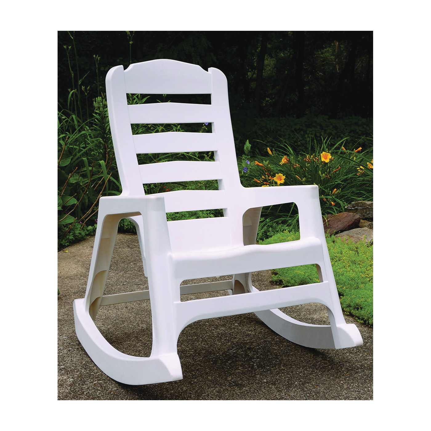 Picture of Adams Big Easy 8080-48-3700 Stacking Rocking Chair, 29.62 in OAW, 36.9 in OAD, 41.01 in OAH, Polypropylene, White